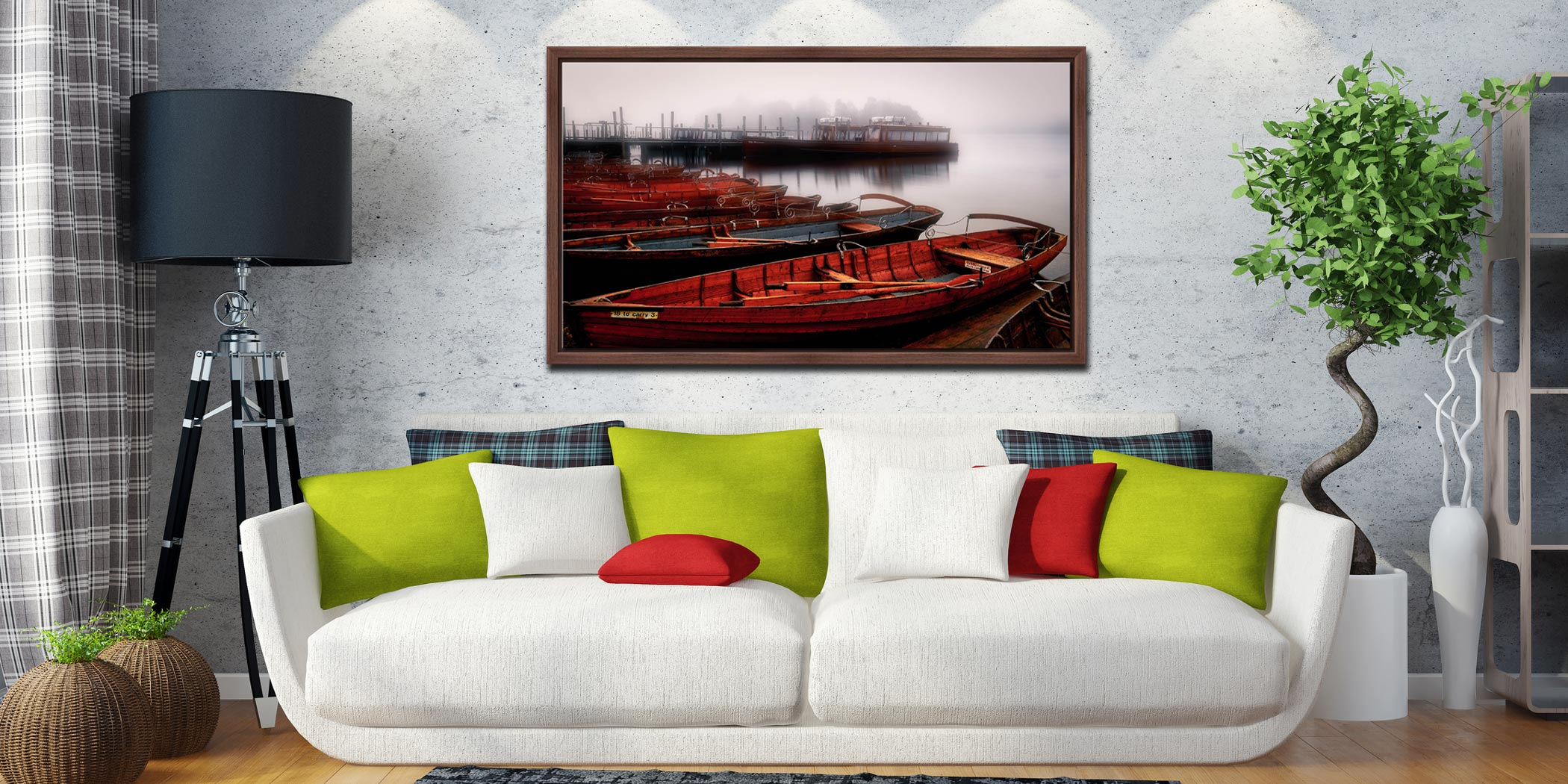 Red Boats in the Mist - Walnut floater frame with acrylic glazing on Wall