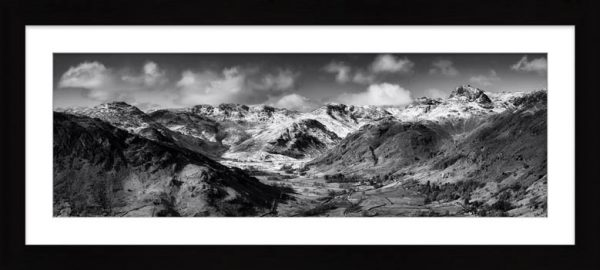 Great Langdale Valley in Winter - Black White Framed Print with Mount