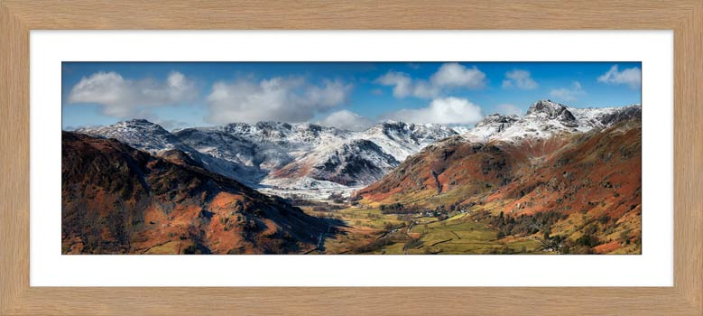 Great Langdale Valley in Winter - Framed Print with Mount
