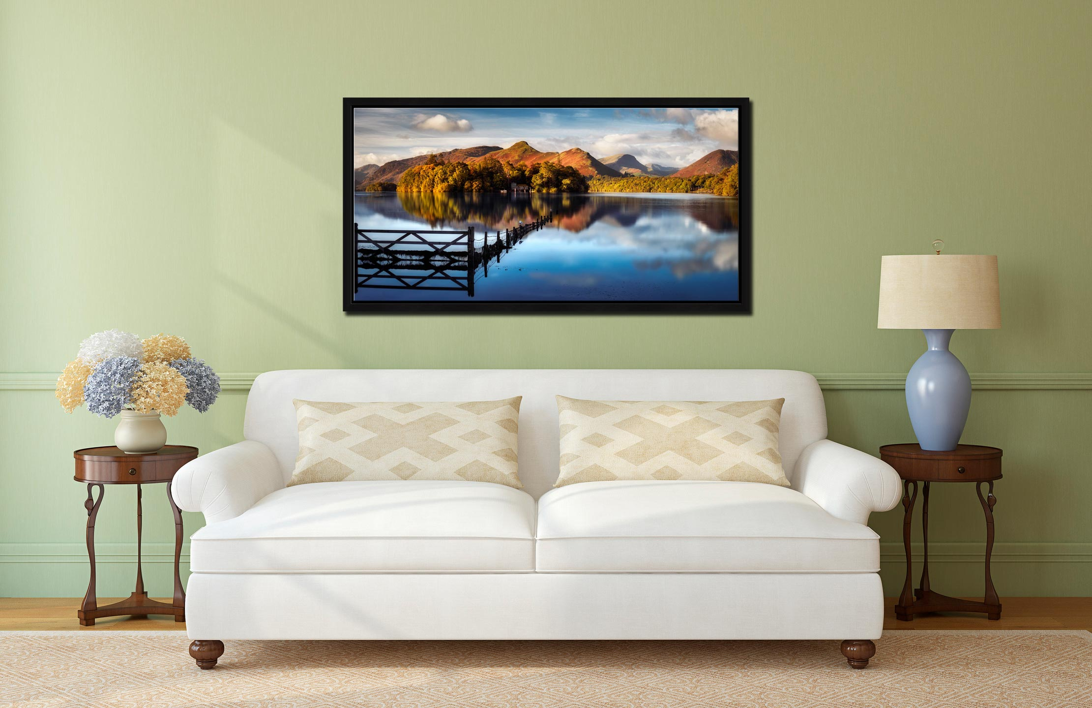 Derwent Water Gate - Black oak floater frame with acrylic glazing on Wall