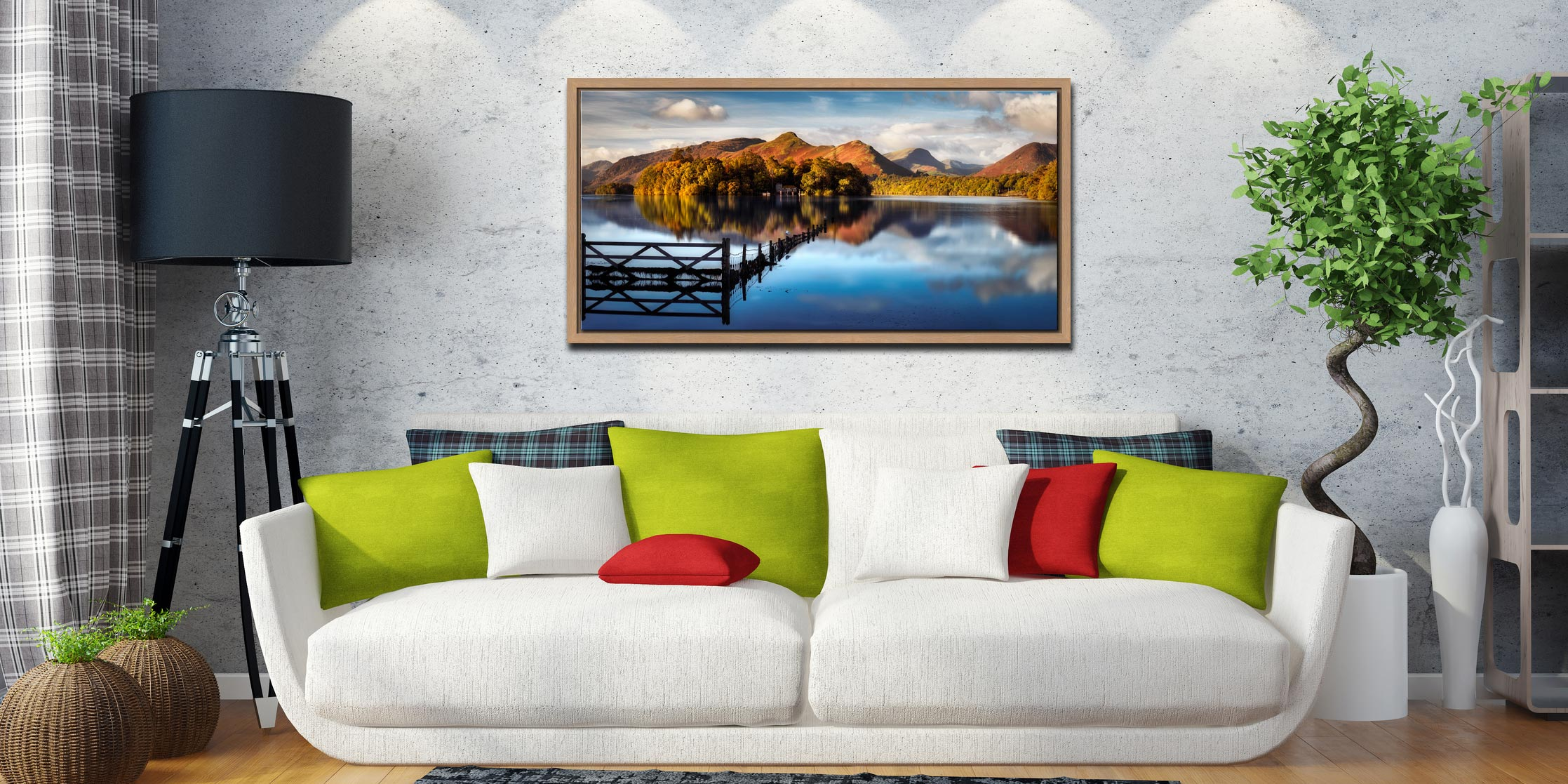 Derwent Water Gate - Oak floater frame with acrylic glazing on Wall