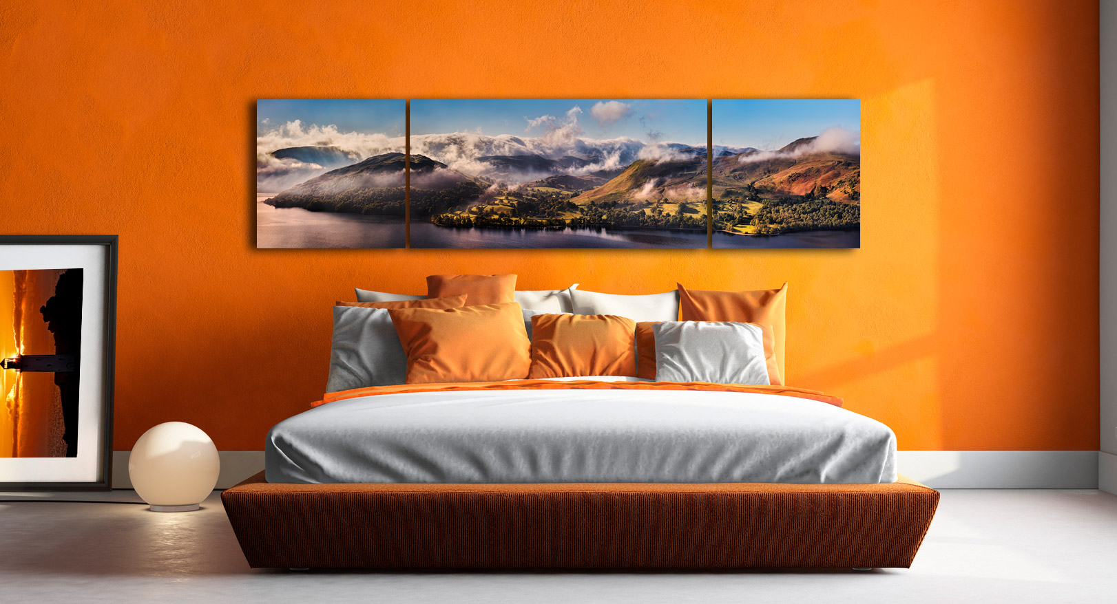 Ullswater Clouds and Mists - 3 Panel Wide Centre Canvas on Wall