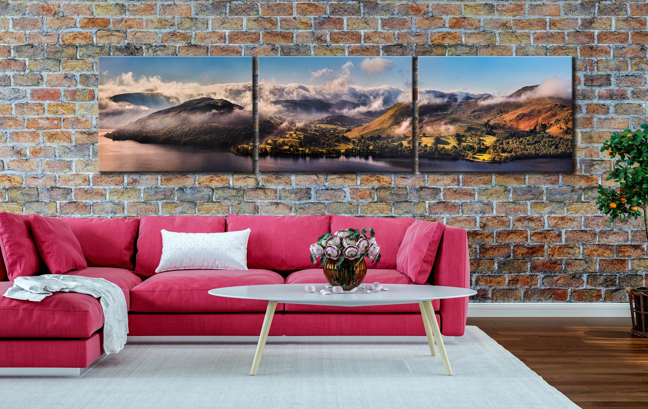 Ullswater Clouds and Mists - 3 Panel Canvas on Wall