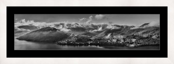Ullswater Clouds and Mists - Black White Framed Print with Mount