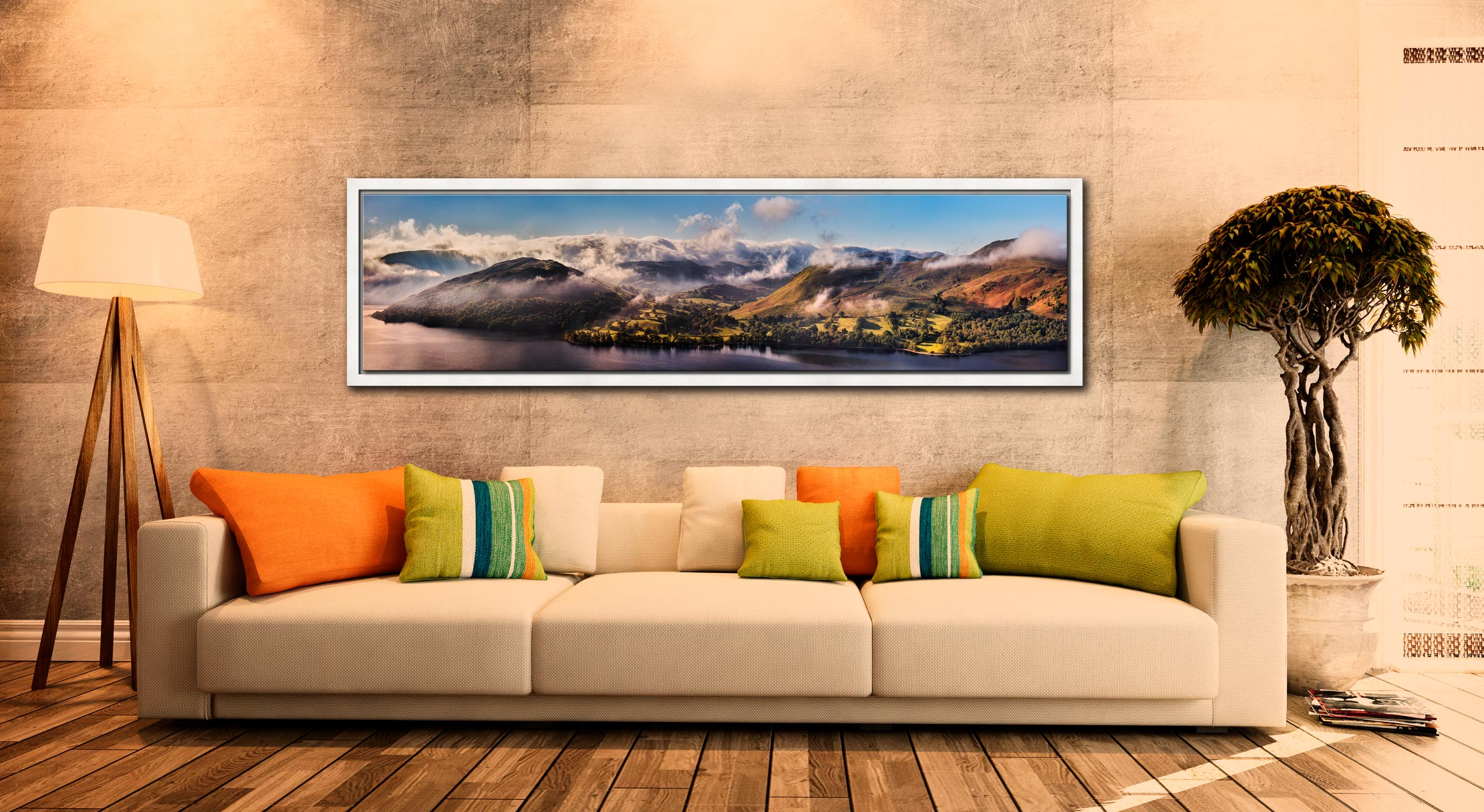 Ullswater Clouds and Mists - White Maple floater frame with acrylic glazing on Wall