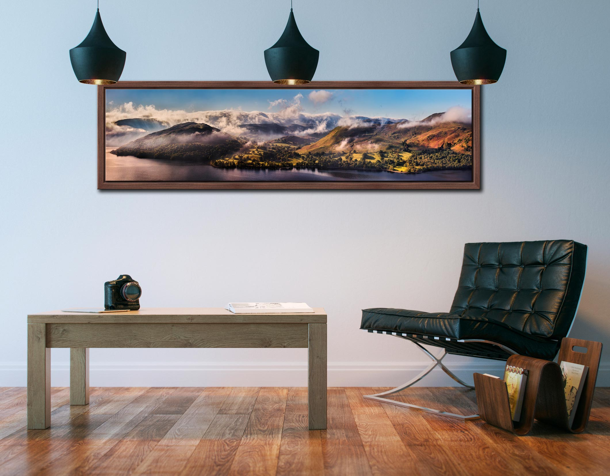 Ullswater Clouds and Mists - Walnut floater frame with acrylic glazing on Wall