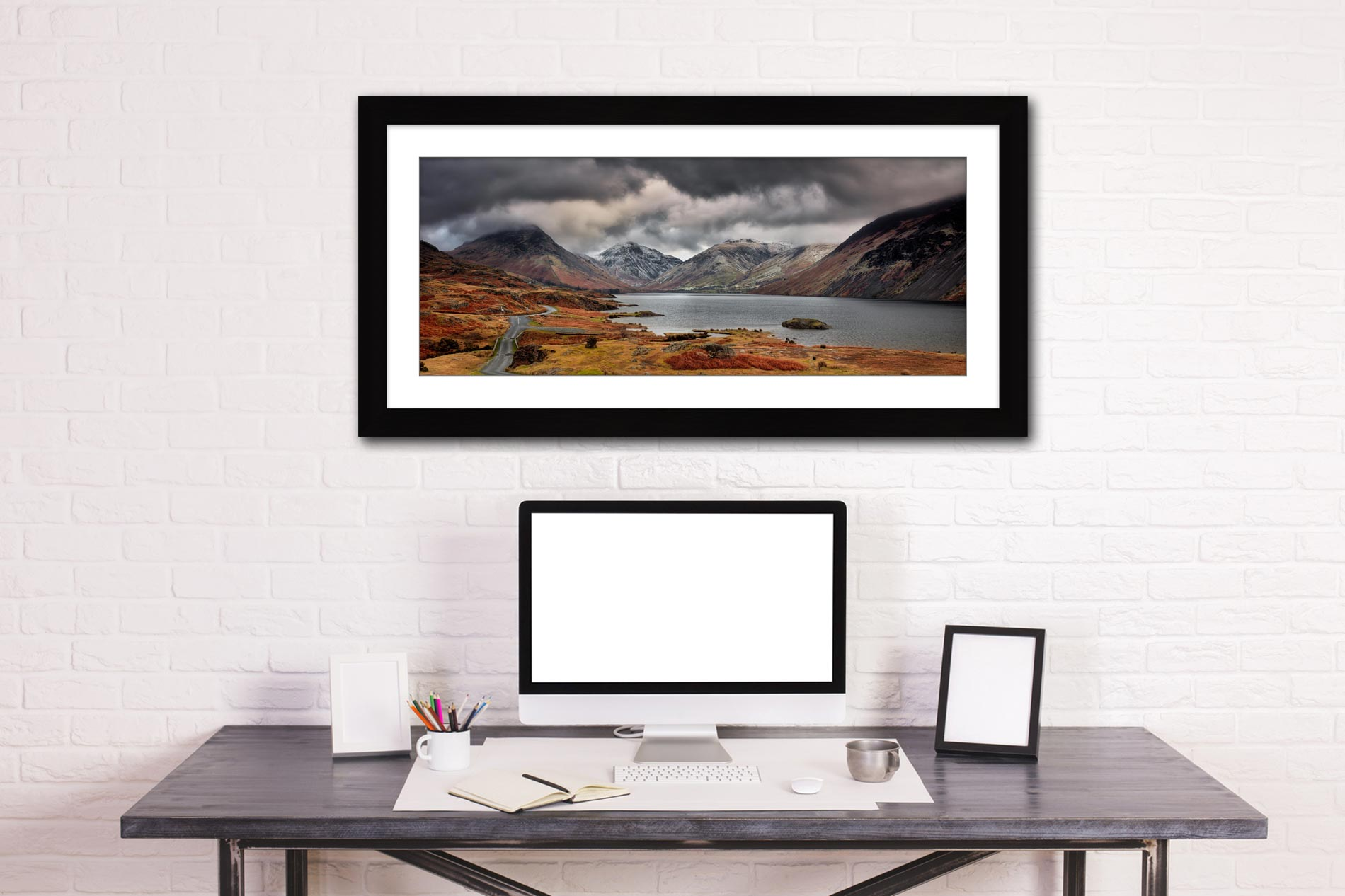 Wast Water Mountains - Framed Print with Mount on Wall