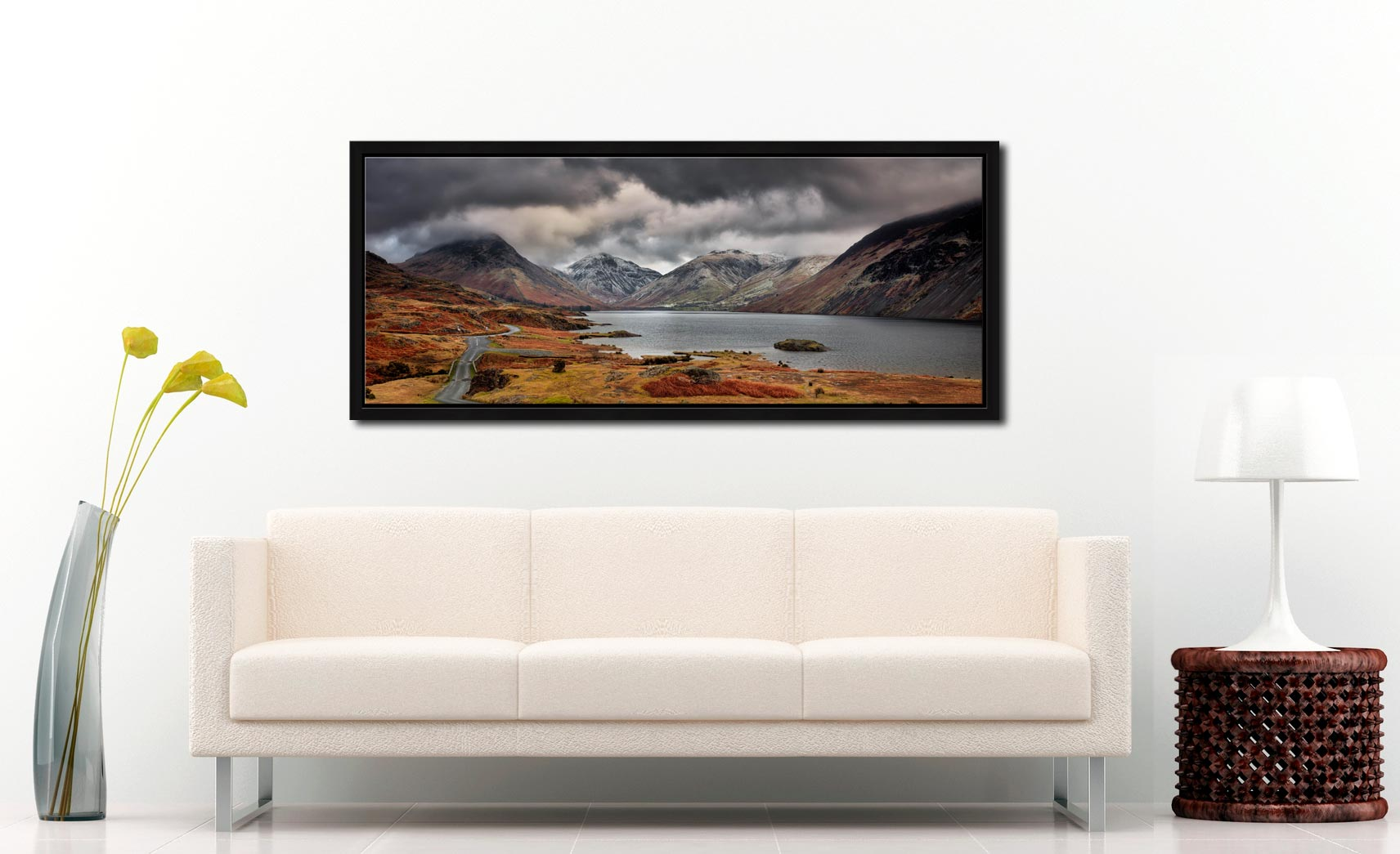 View down a chilly Wast Water to Sca Fell, Great Gable and Yewbarrow - Black oak floater frame with acrylic glazing on Wall