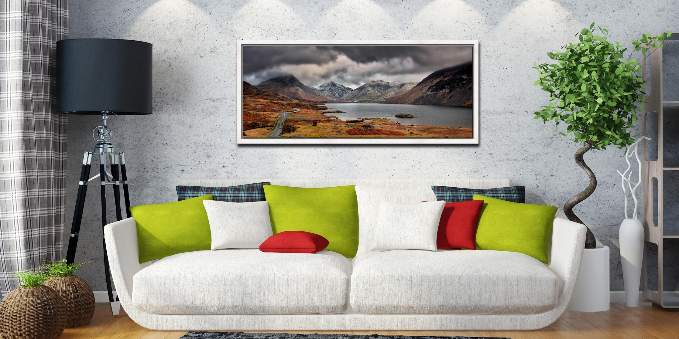 View down a chilly Wast Water to Sca Fell, Great Gable and Yewbarrow - White Maple floater frame with acrylic glazing on Wall