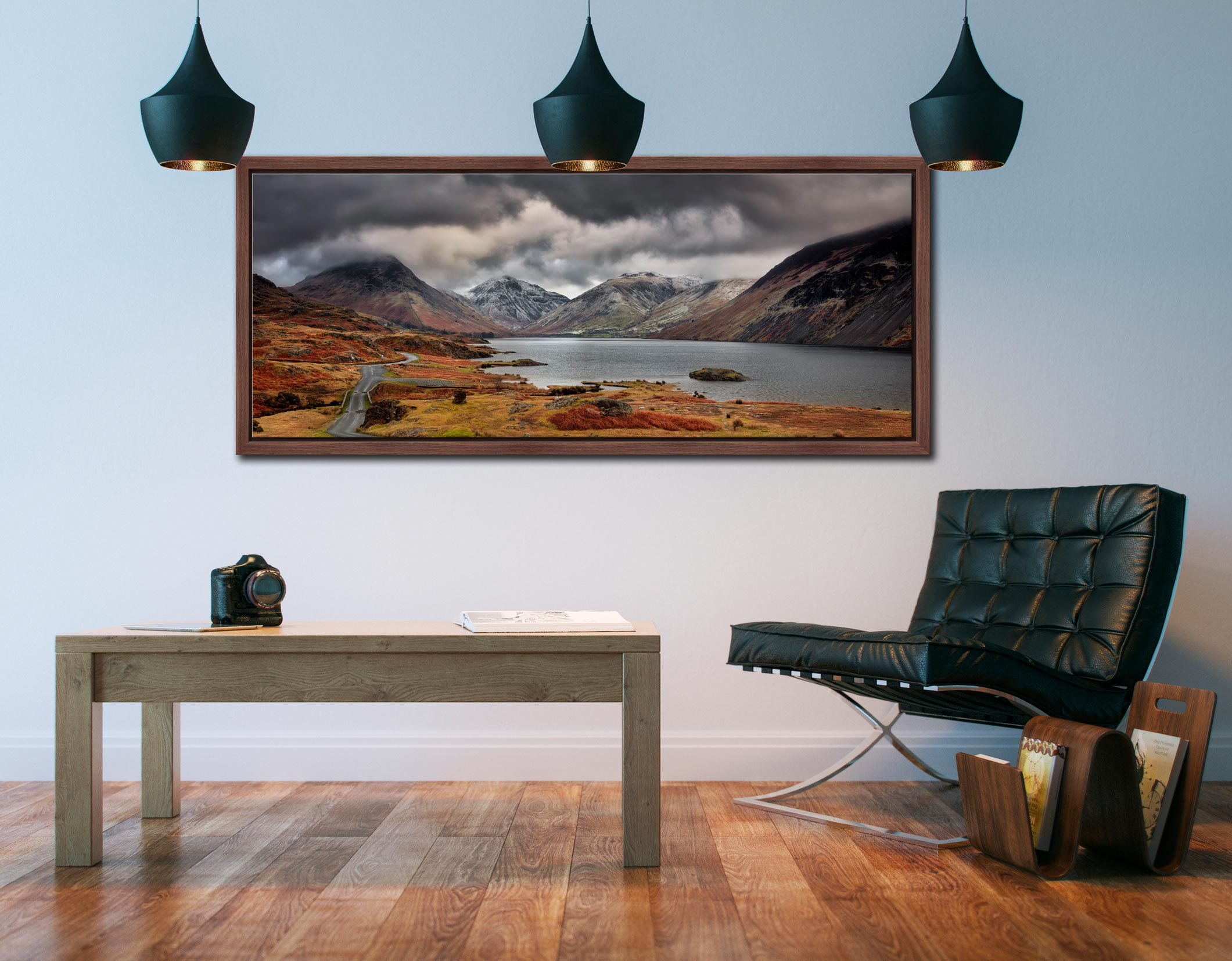View down a chilly Wast Water to Sca Fell, Great Gable and Yewbarrow - Walnut floater frame with acrylic glazing on Wall