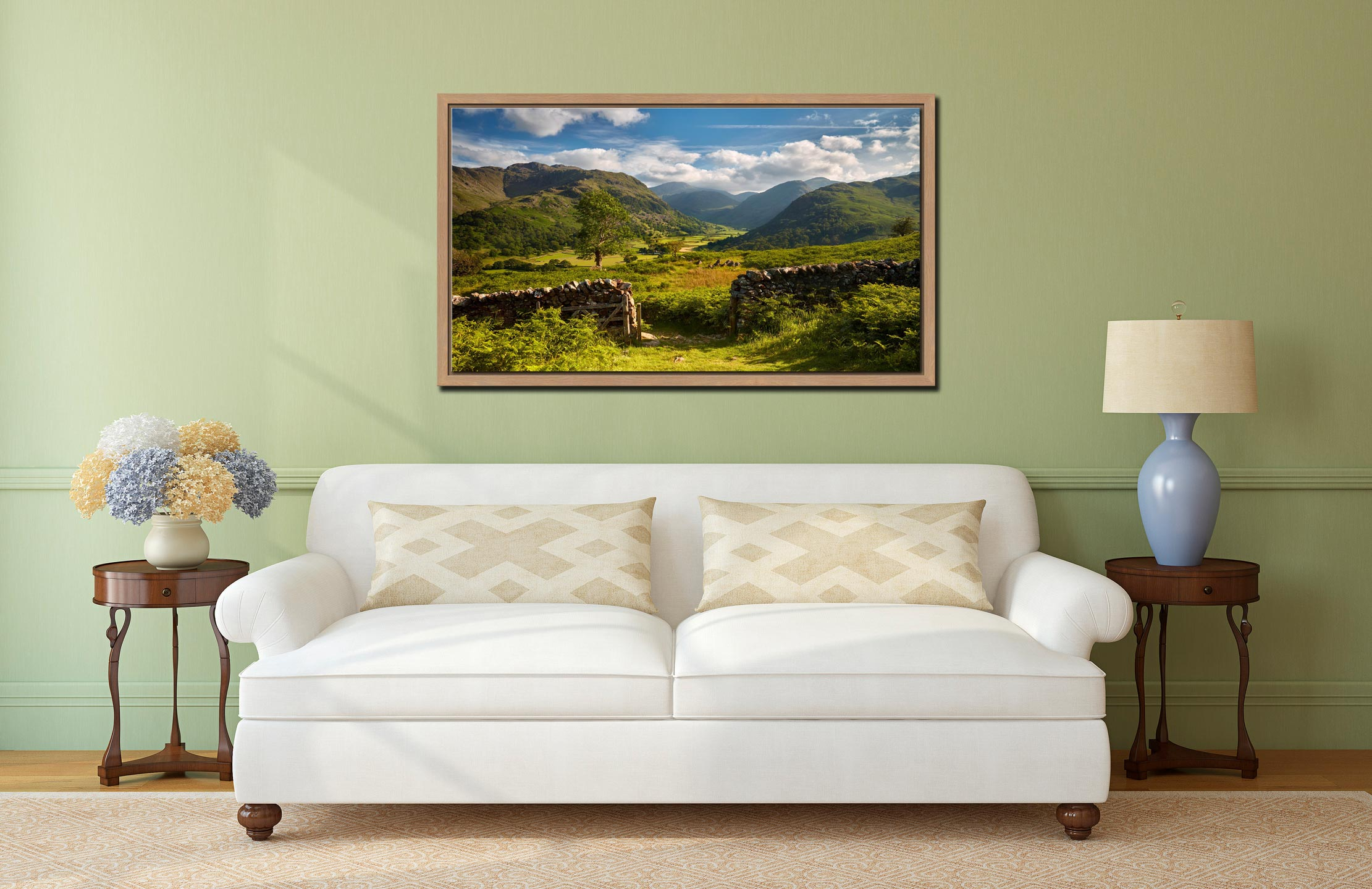 Green and Pleasant Land - Oak floater frame with acrylic glazing on Wall