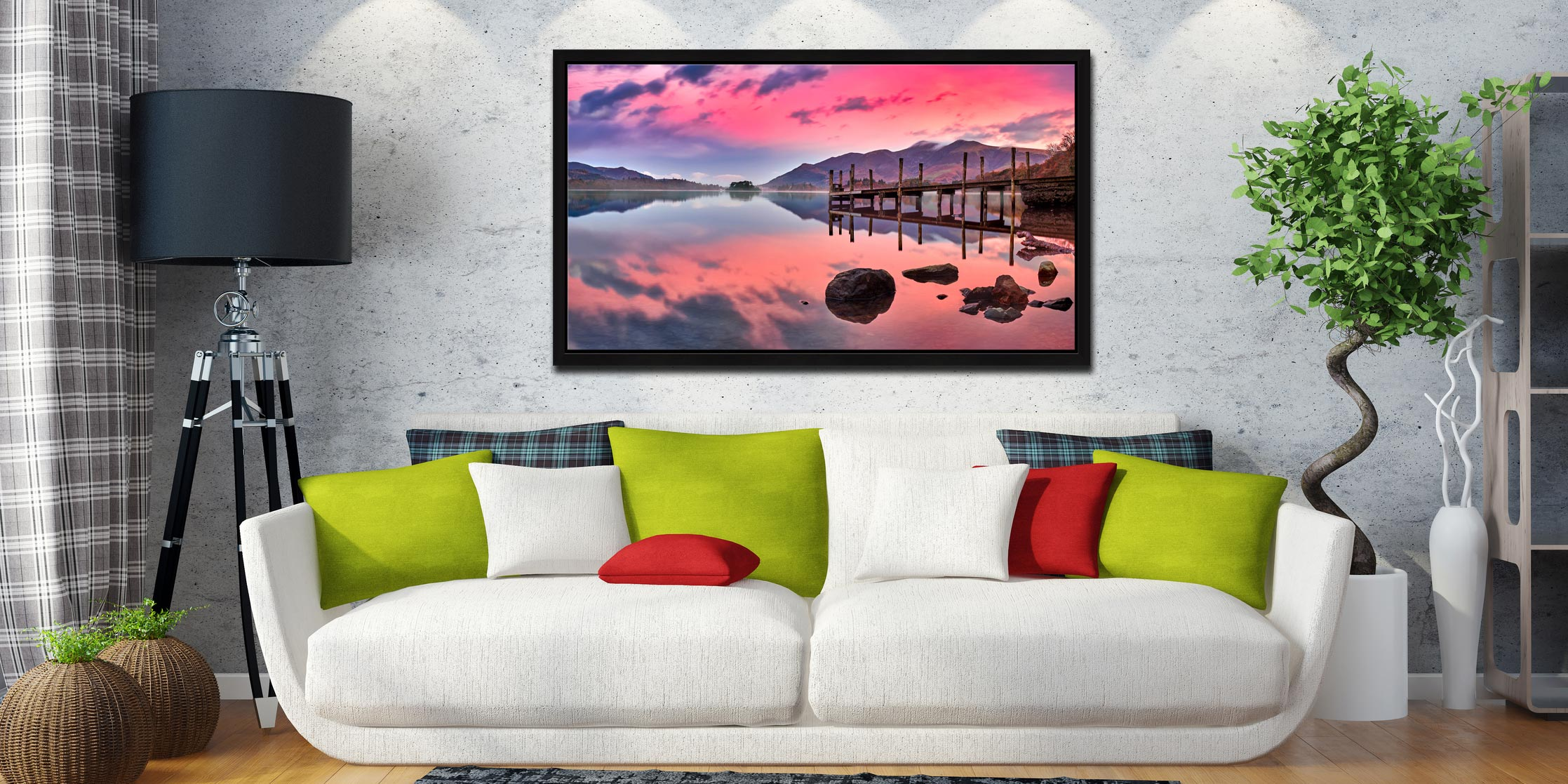 Pink Skies Derwent Water - Black oak floater frame with acrylic glazing on Wall