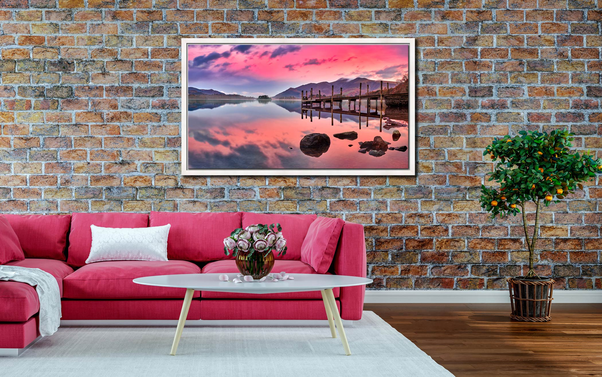 Pink Skies Derwent Water - White Maple floater frame with acrylic glazing on Wall