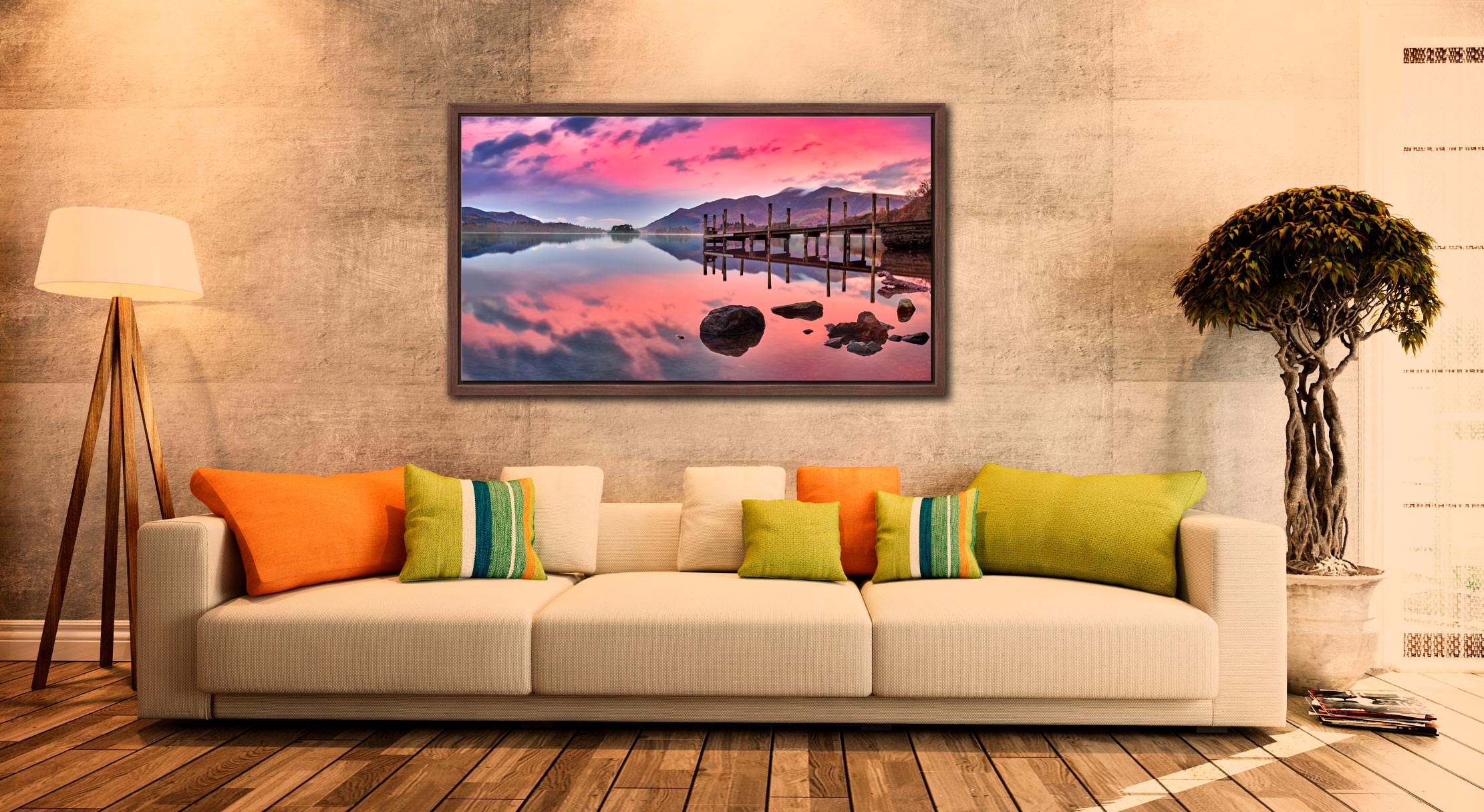 Pink Skies Derwent Water - Walnut floater frame with acrylic glazing on Wall