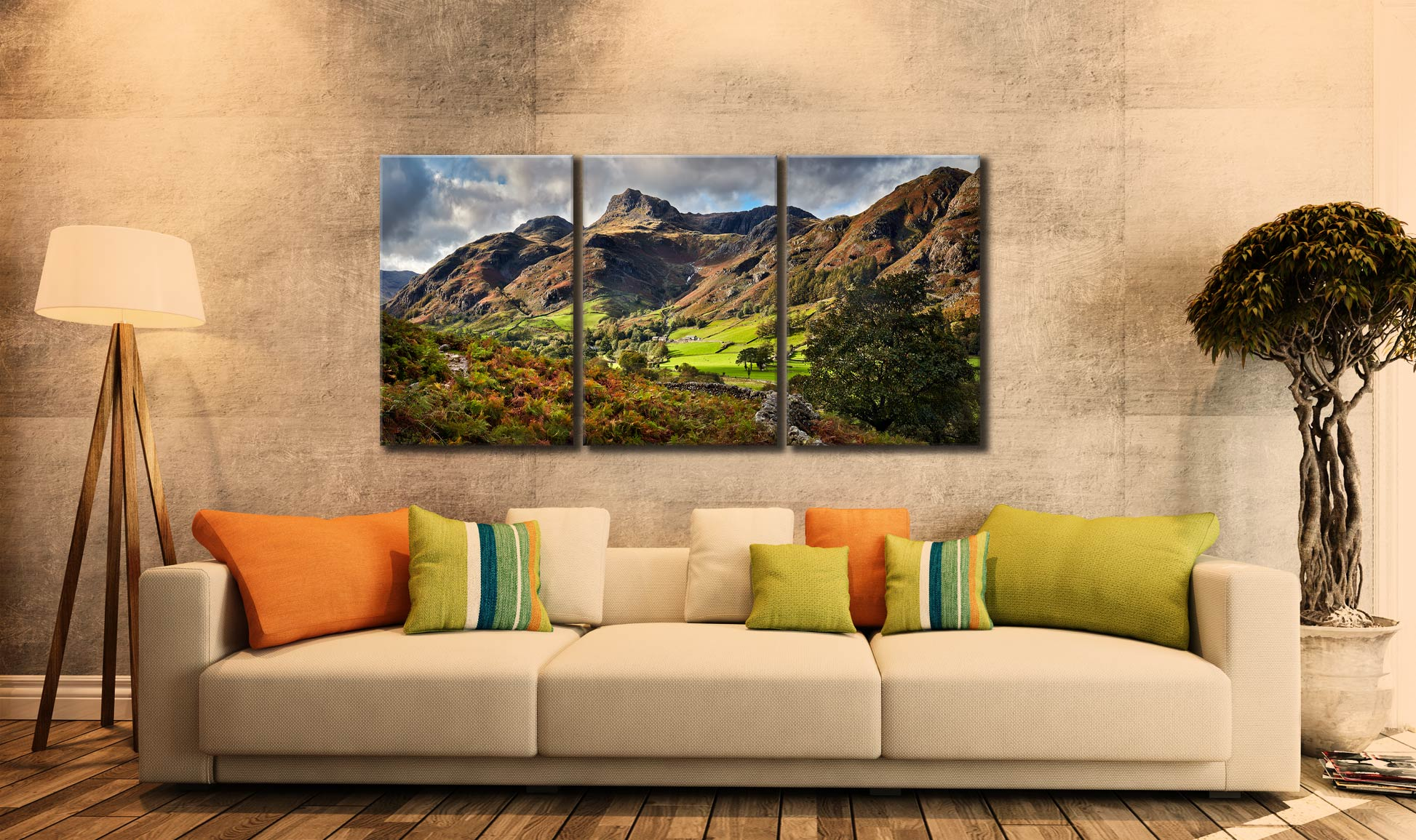 Cumbrian Way Langdale - 3 Panel Canvas on Wall
