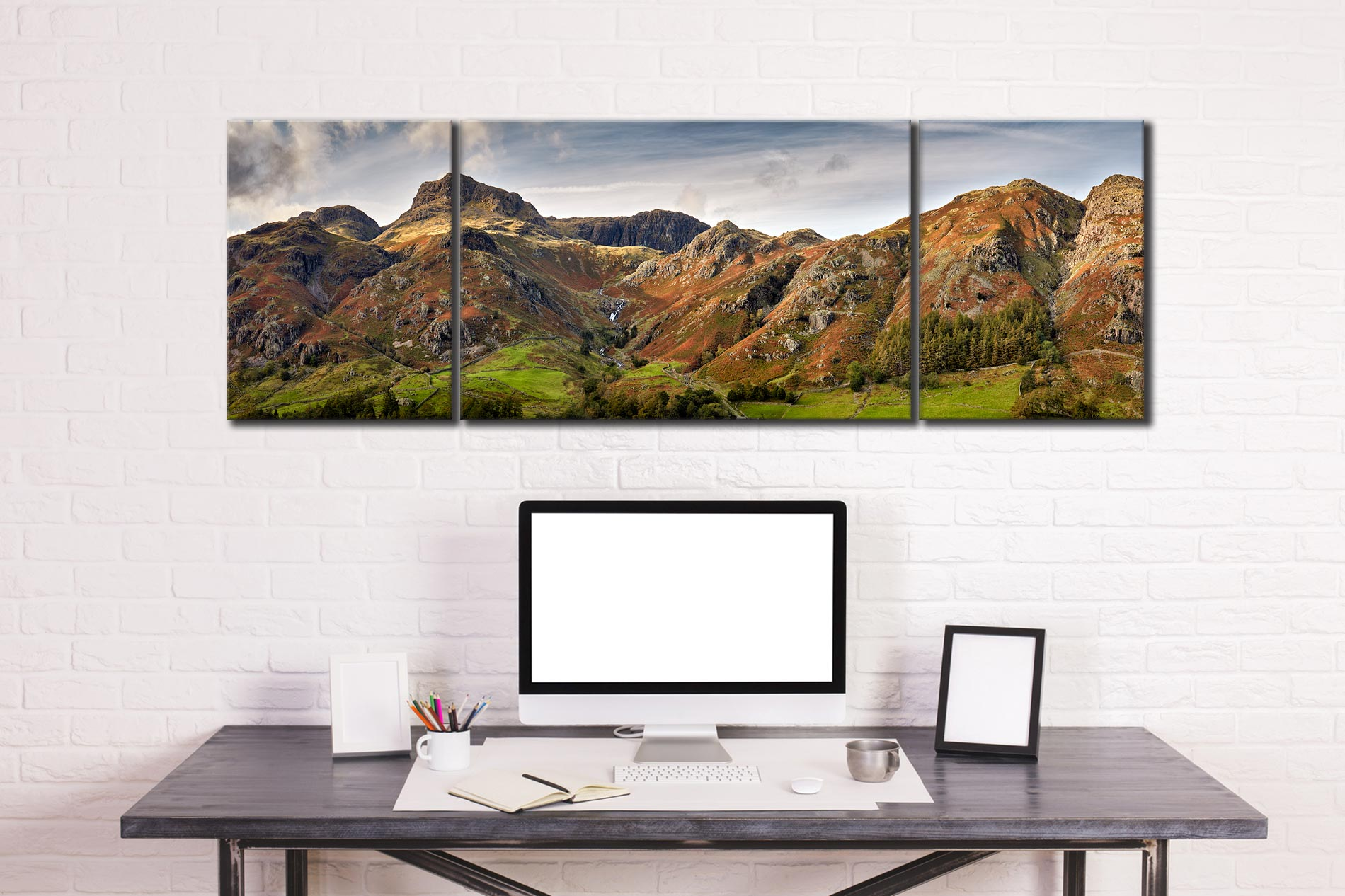 Harrison Stickle to Blea Rigg - 3 Panel Wide Mid Canvas on Wall