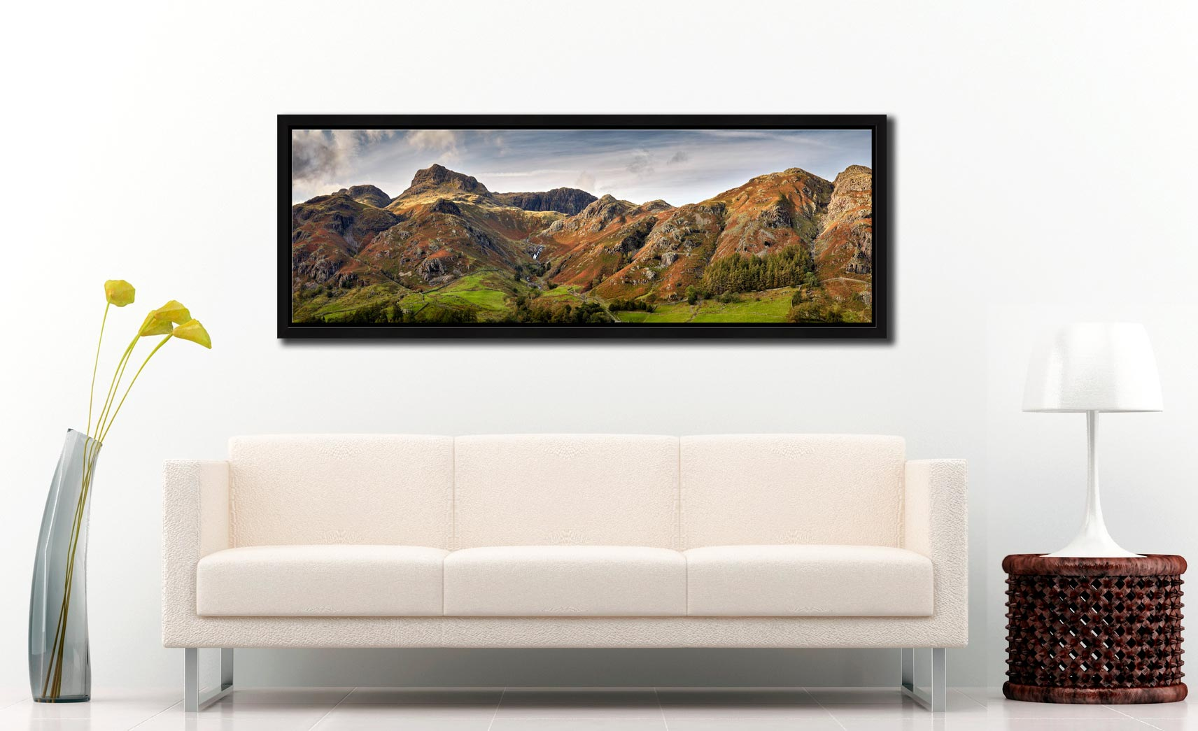 A touch of late afternoon sunshine on the fells around Stickle Ghyll in Langdale - Black oak floater frame with acrylic glazing on Wall
