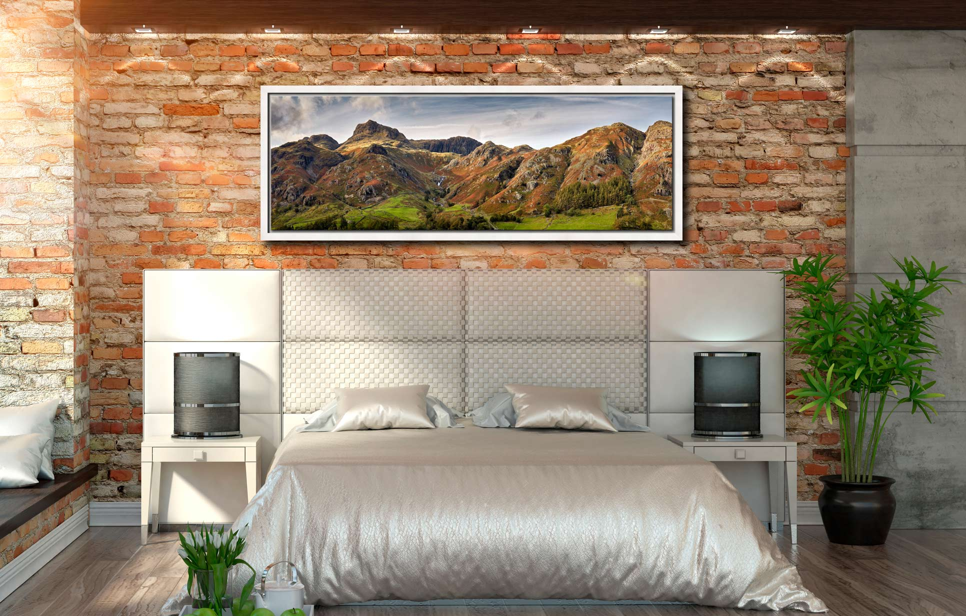 A touch of late afternoon sunshine on the fells around Stickle Ghyll in Langdale - White Maple floater frame with acrylic glazing on Wall