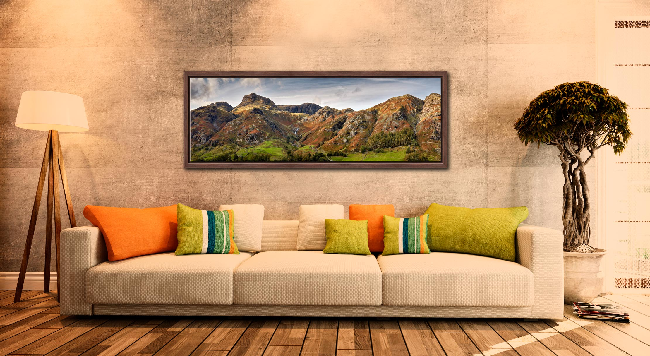 A touch of late afternoon sunshine on the fells around Stickle Ghyll in Langdale - Walnut floater frame with acrylic glazing on Wall