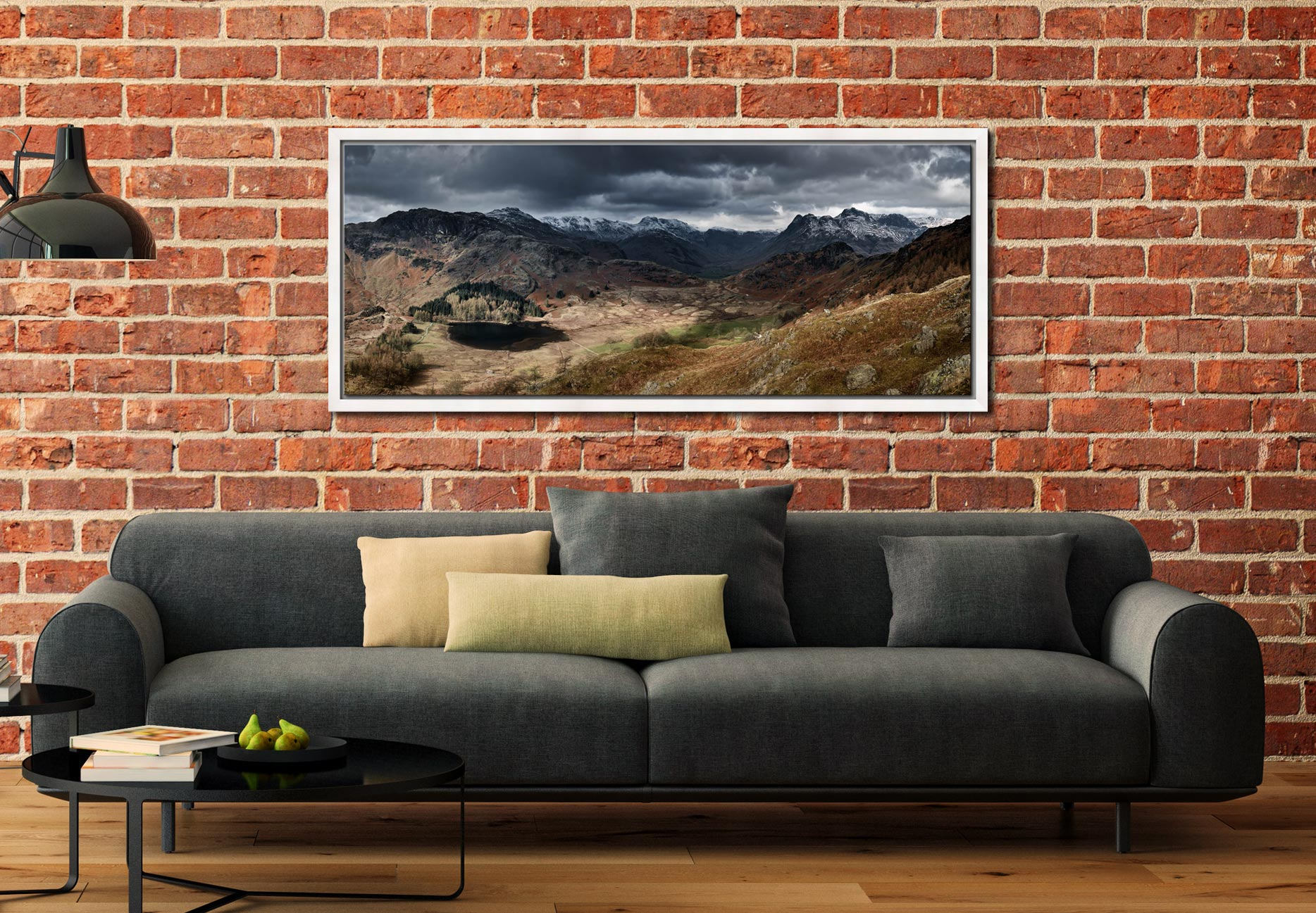 View from Lingmoor Fell over the Blea Tarn bowl to the Langdales - White Maple floater frame with acrylic glazing on Wall