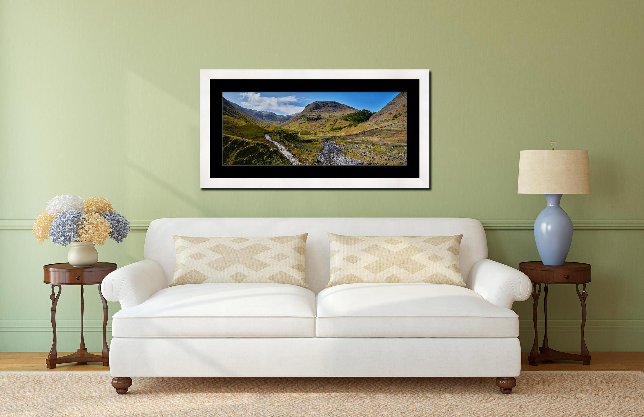 Seathwaite Valley - Framed Print with Mount on Wall