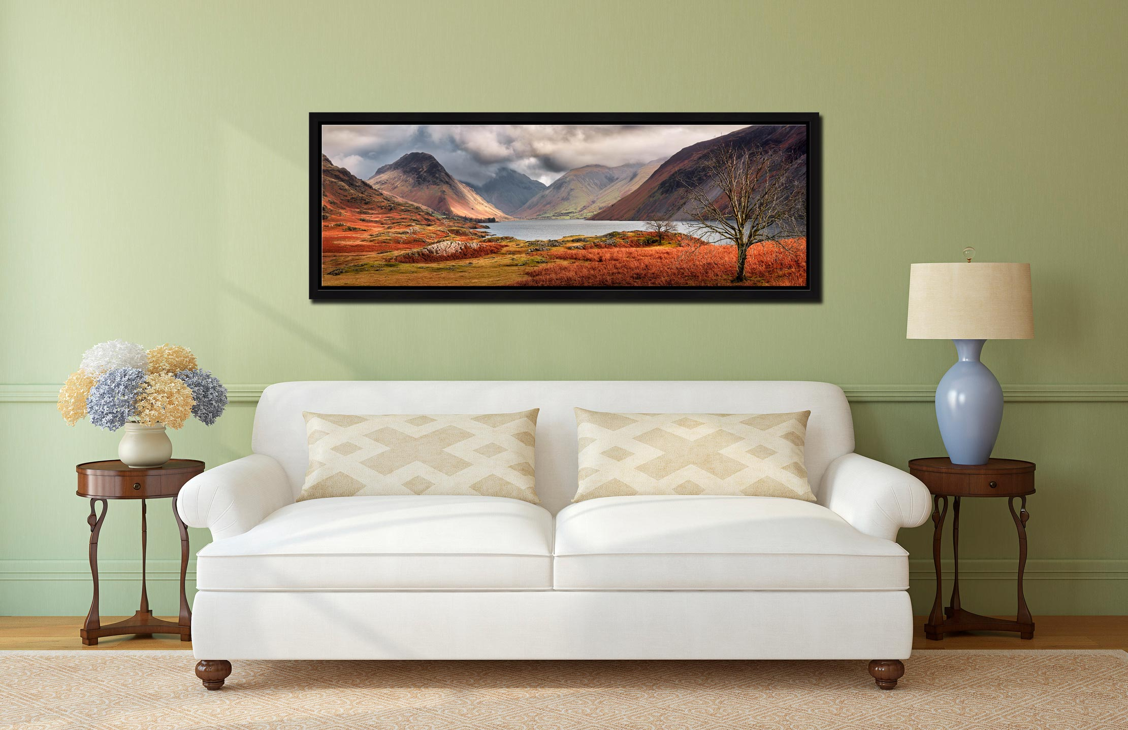 The last colours of Autumn fading away at Wast Water - Black oak floater frame with acrylic glazing on Wall