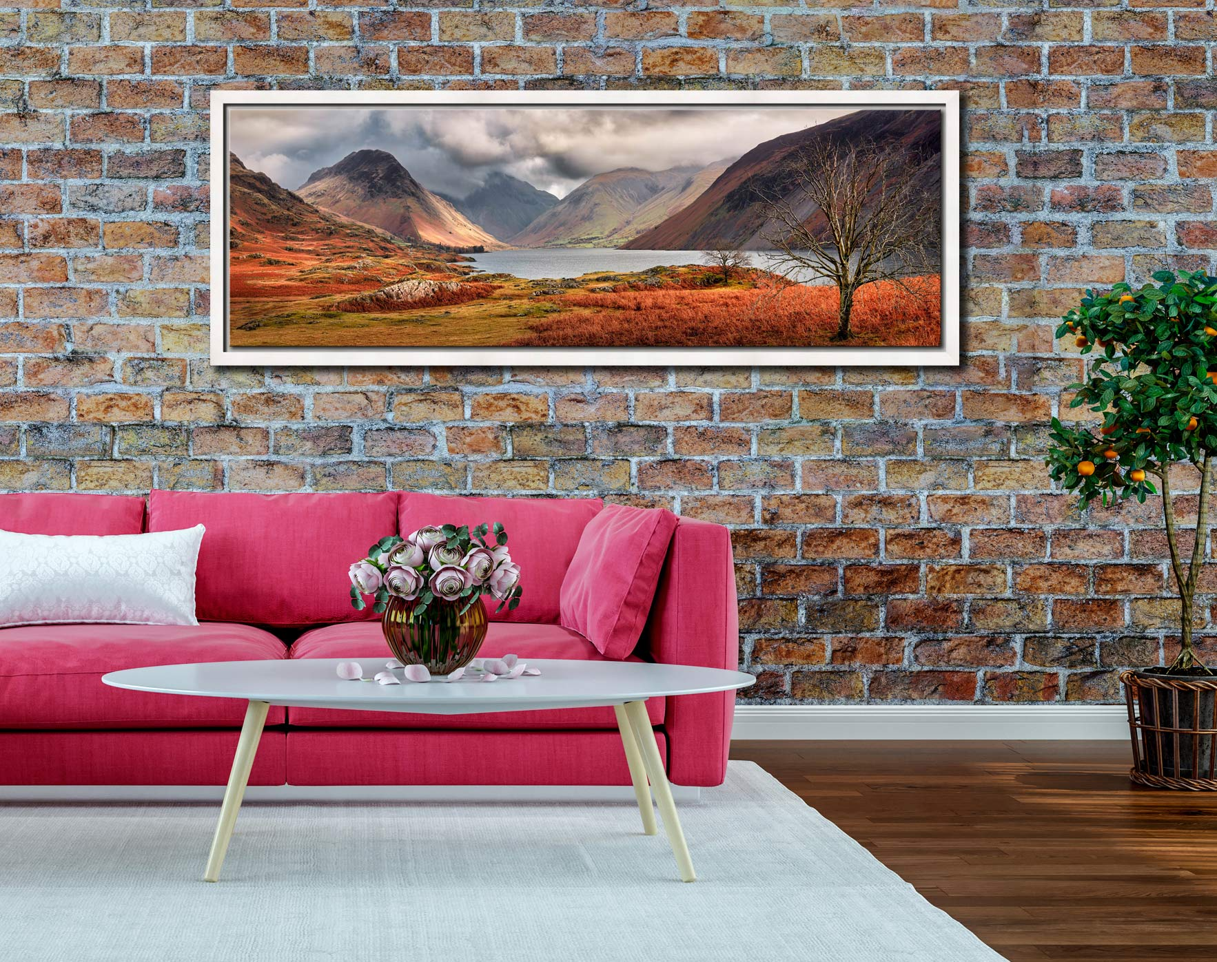 The last colours of Autumn fading away at Wast Water - White Maple floater frame with acrylic glazing on Wall