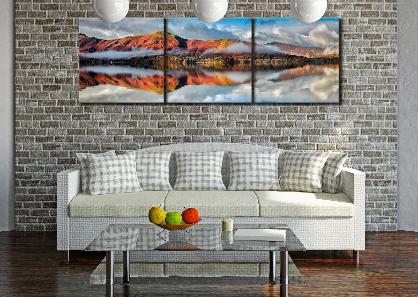 Cat Bells Autumn Mists - 3 Panel Canvas on Wall