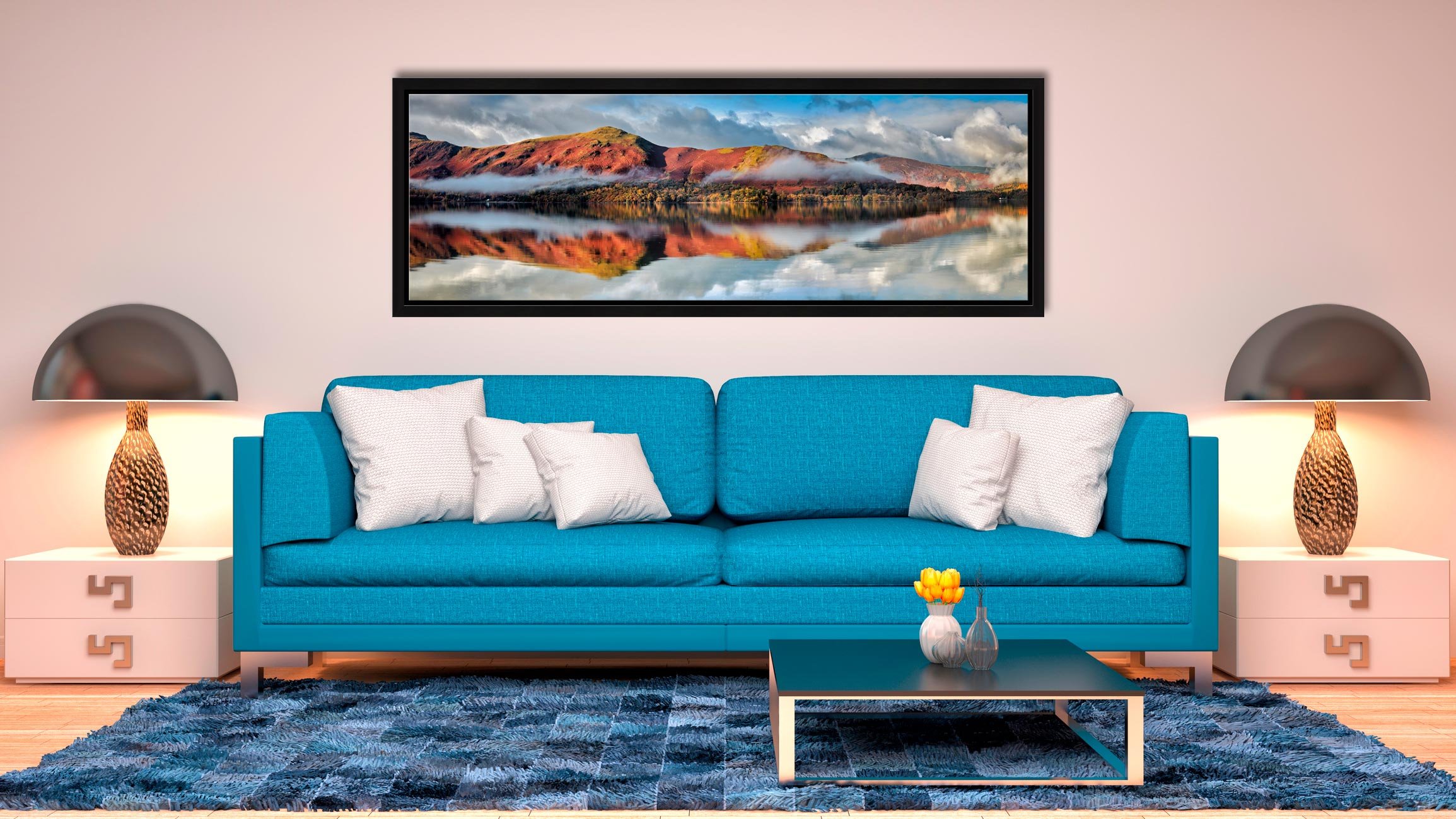 The morning mists on Derwent Water lifting to reveal the autumn colours of Cat Bells - Black oak floater frame with acrylic glazing on Wall