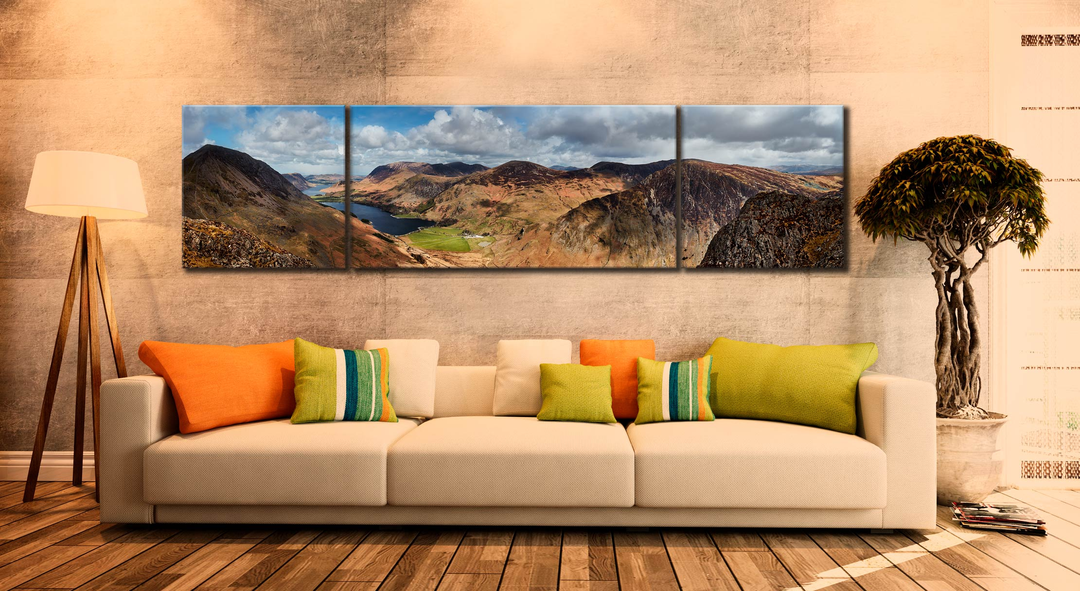 Fleethwith to High Crag - 3 Panel Wide Centre Canvas on Wall