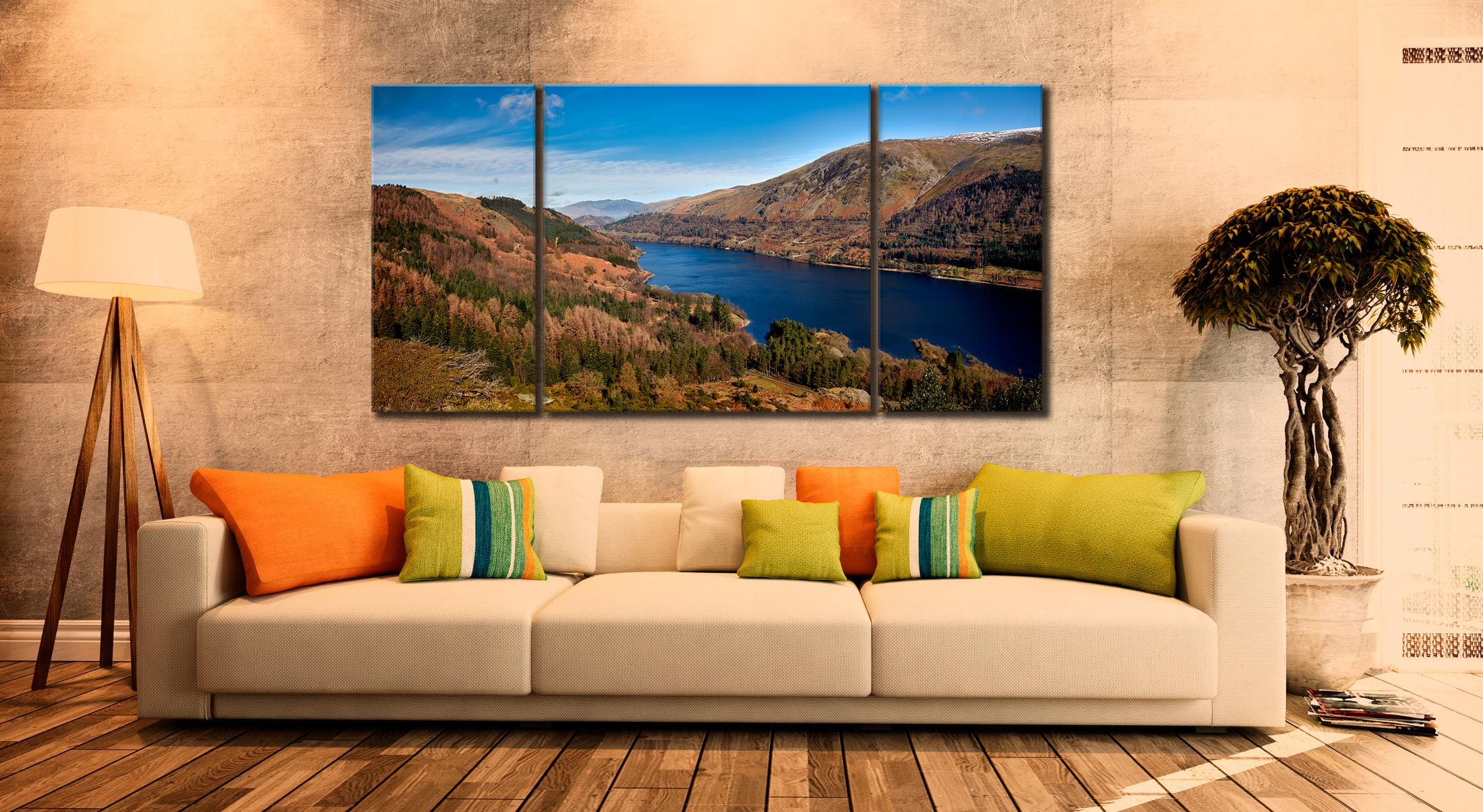 Autumn at Thirlmere - 3 Panel Wide Centre Canvas on Wall