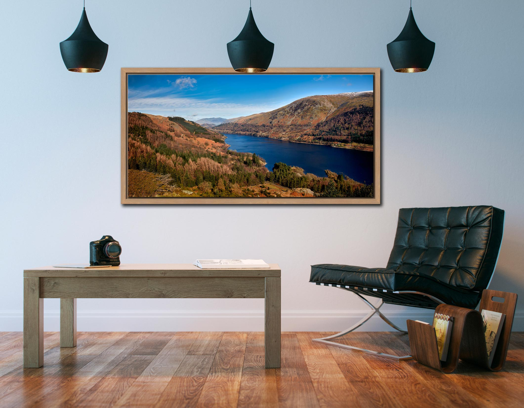 Autumn at Thirlmere - Oak floater frame with acrylic glazing on Wall