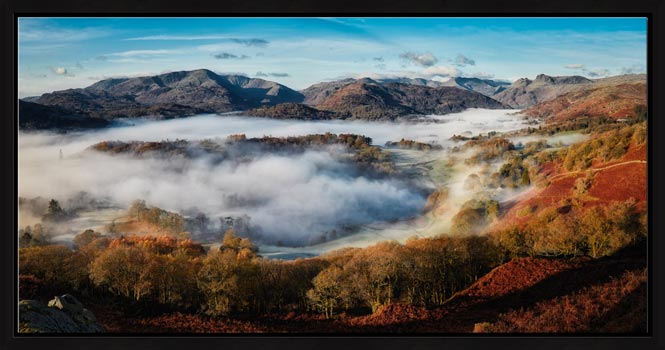 Great Langdale Misty Morning - Floating Frame