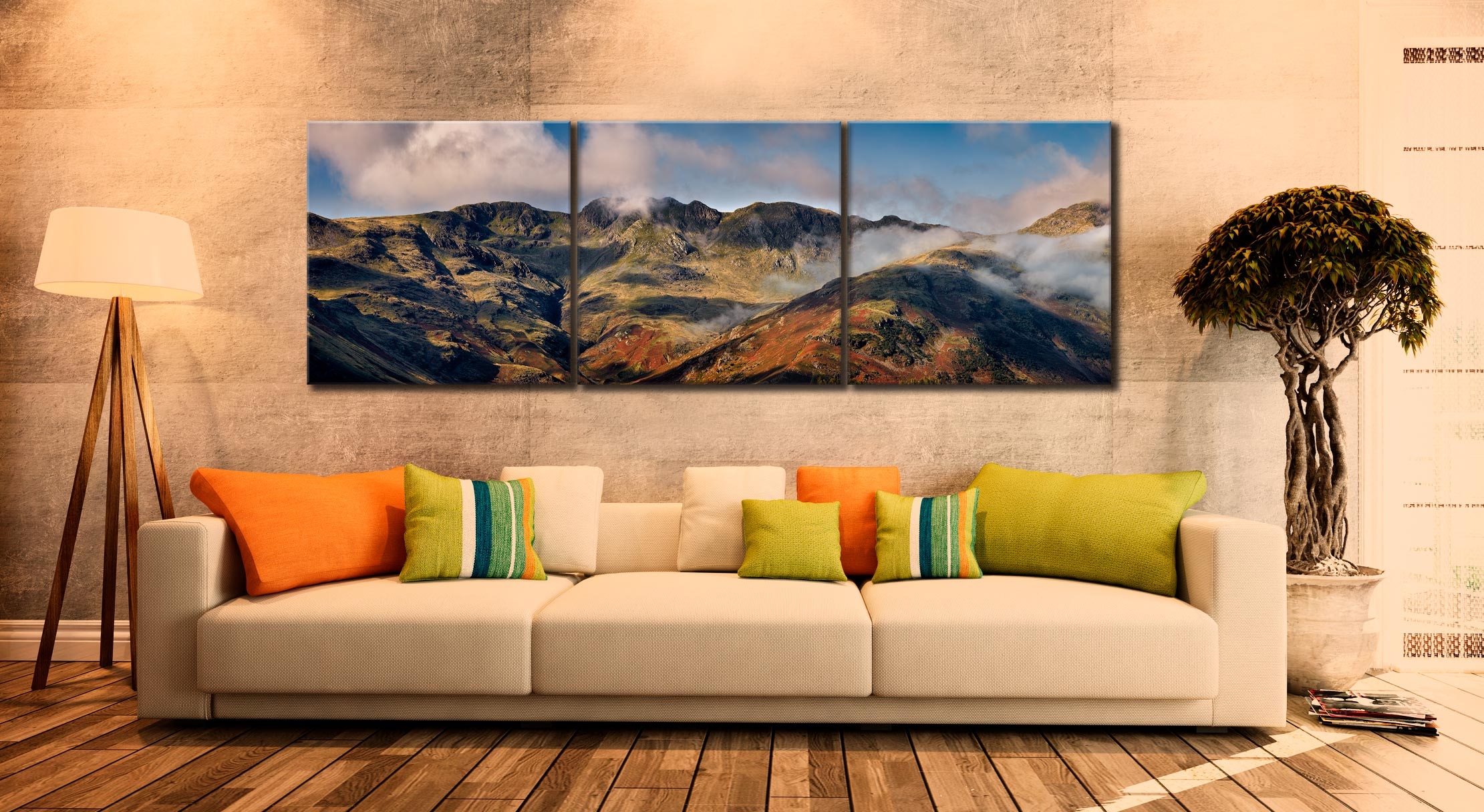 Crinkle Crags from Great Langdale - 3 Panel Canvas on Wall