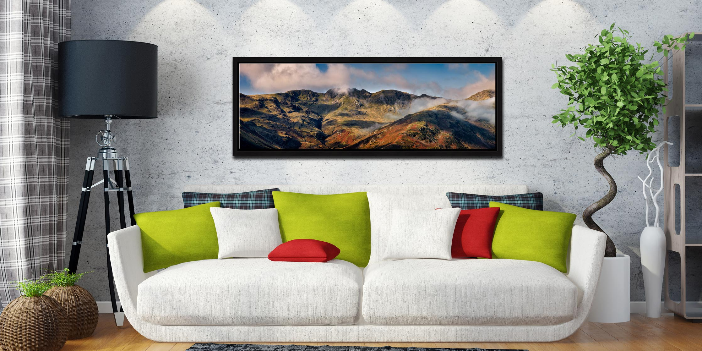 The ridge line of Crinkle Crags viewed from the Langdale Valley - Black oak floater frame with acrylic glazing on Wall
