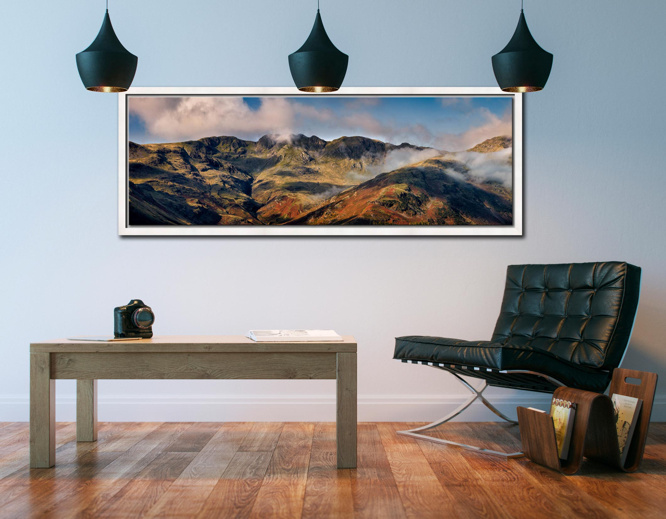 The ridge line of Crinkle Crags viewed from the Langdale Valley - White Maple floater frame with acrylic glazing on Wall