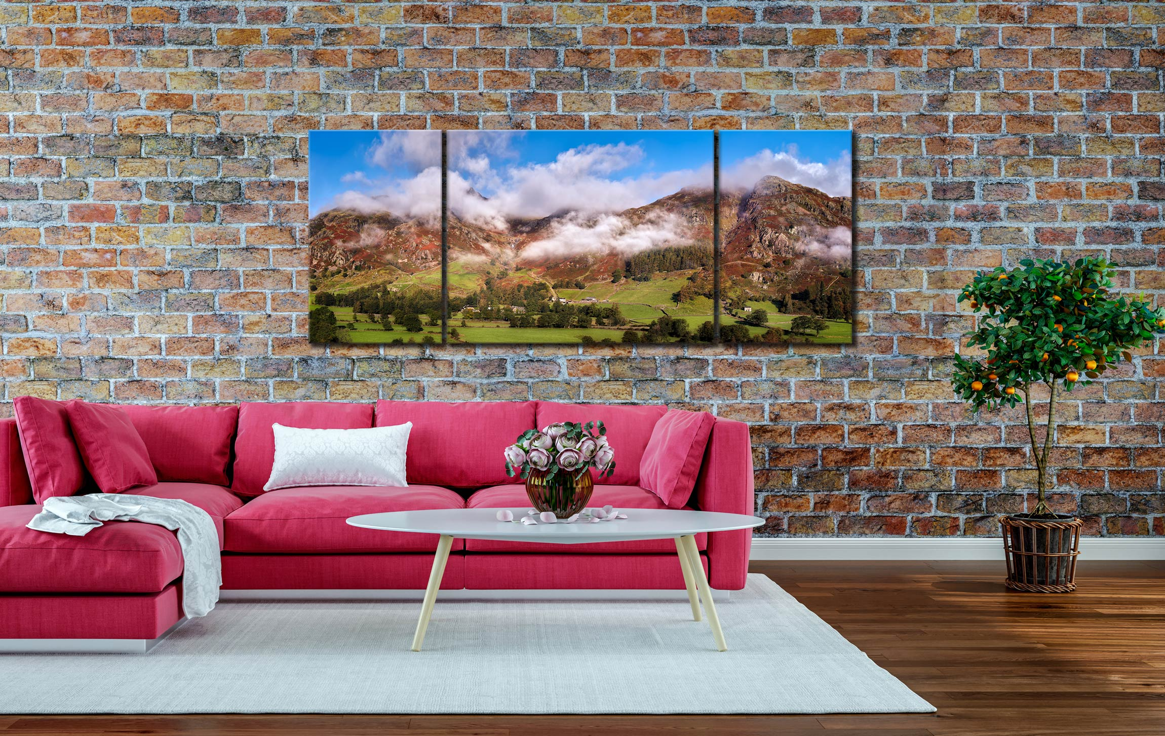 Misty Mountains of Langdale - 3 Panel Wide Mid Canvas on Wall