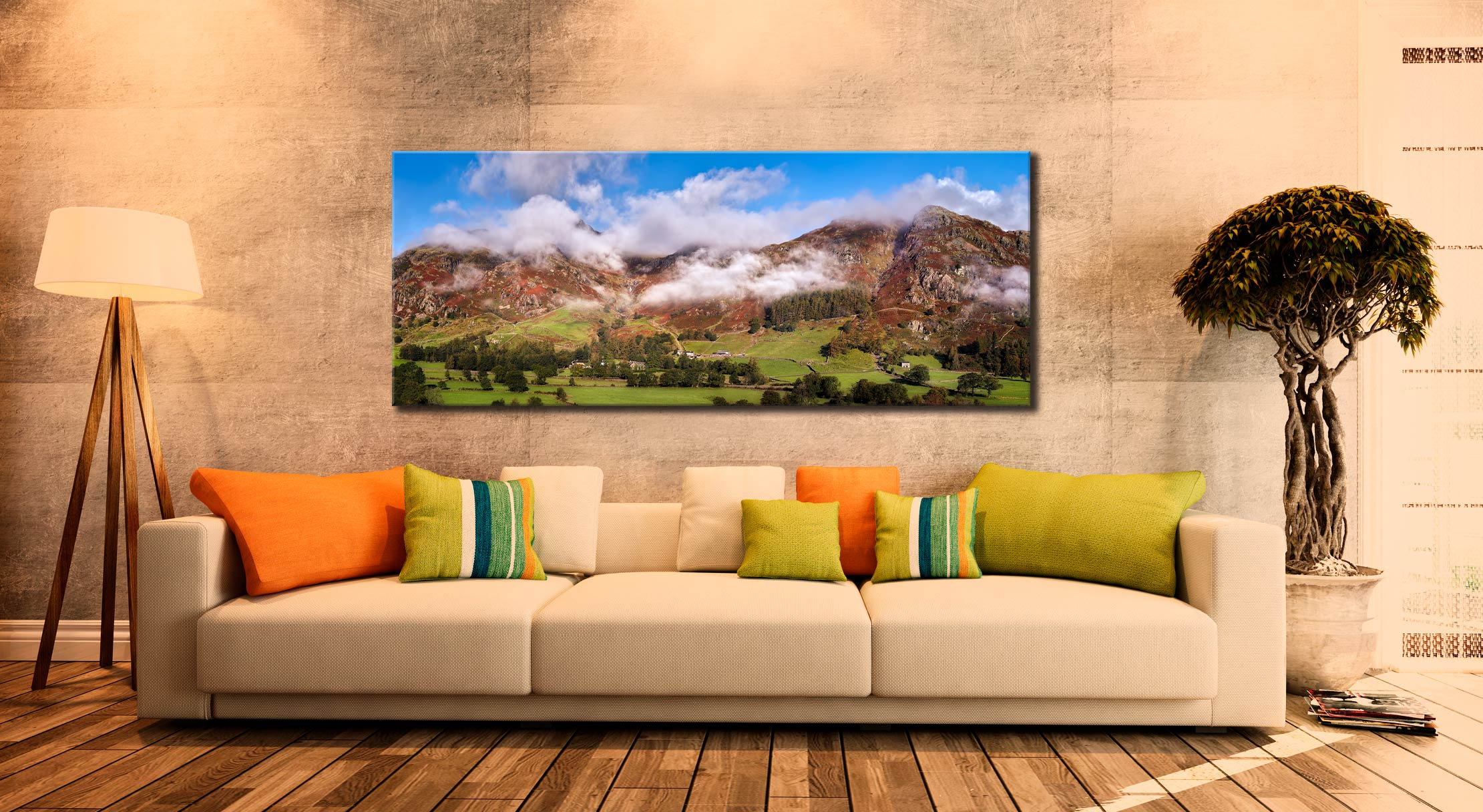 Misty Mountains of Langdale - Canvas Print on Wall