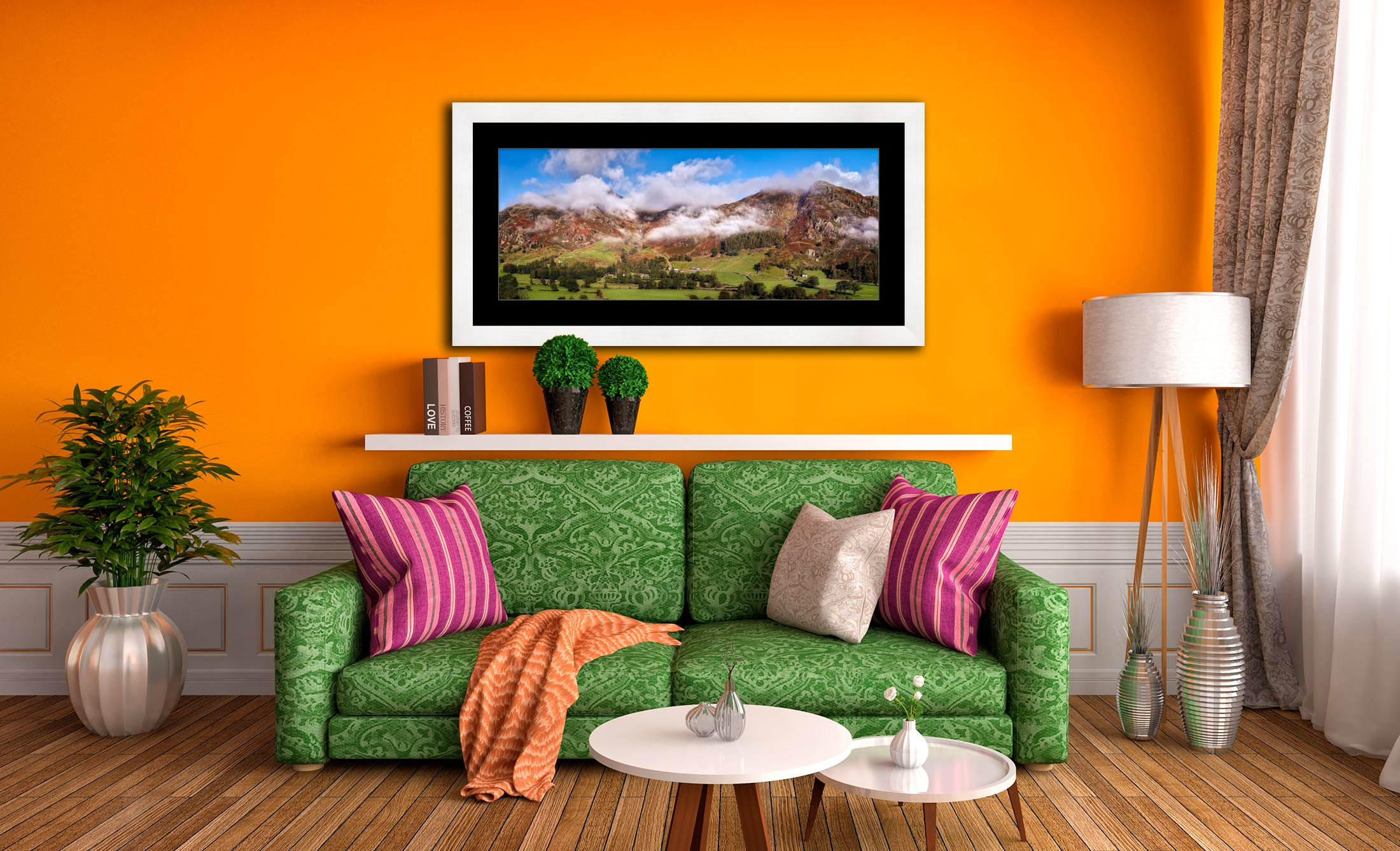Misty Mountains of Langdale - Framed Print with Mount on Wall