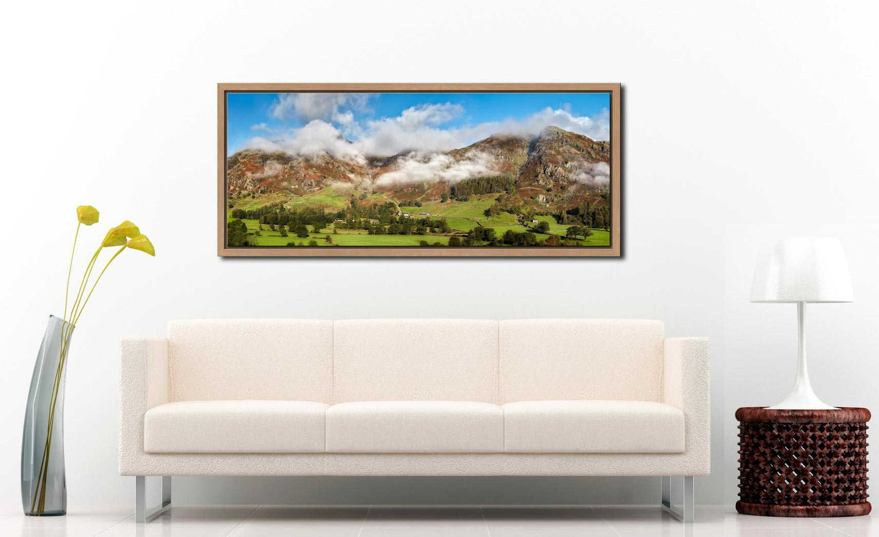 View of mist covered Langdale Pikes, Stickle Ghyll and Blea Rigg in Langdale - Oak floater frame with acrylic glazing on Wall
