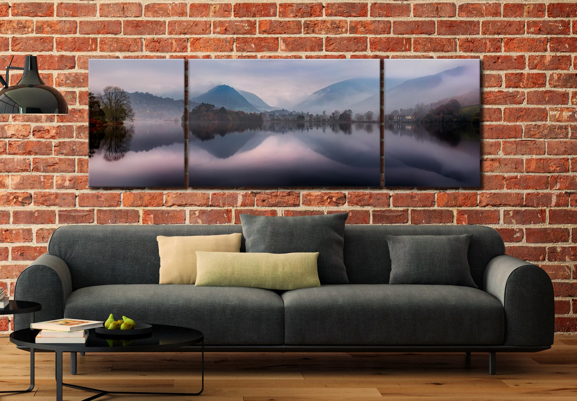 Misty Grasmere - 3 Panel Wide Mid Canvas on Wall