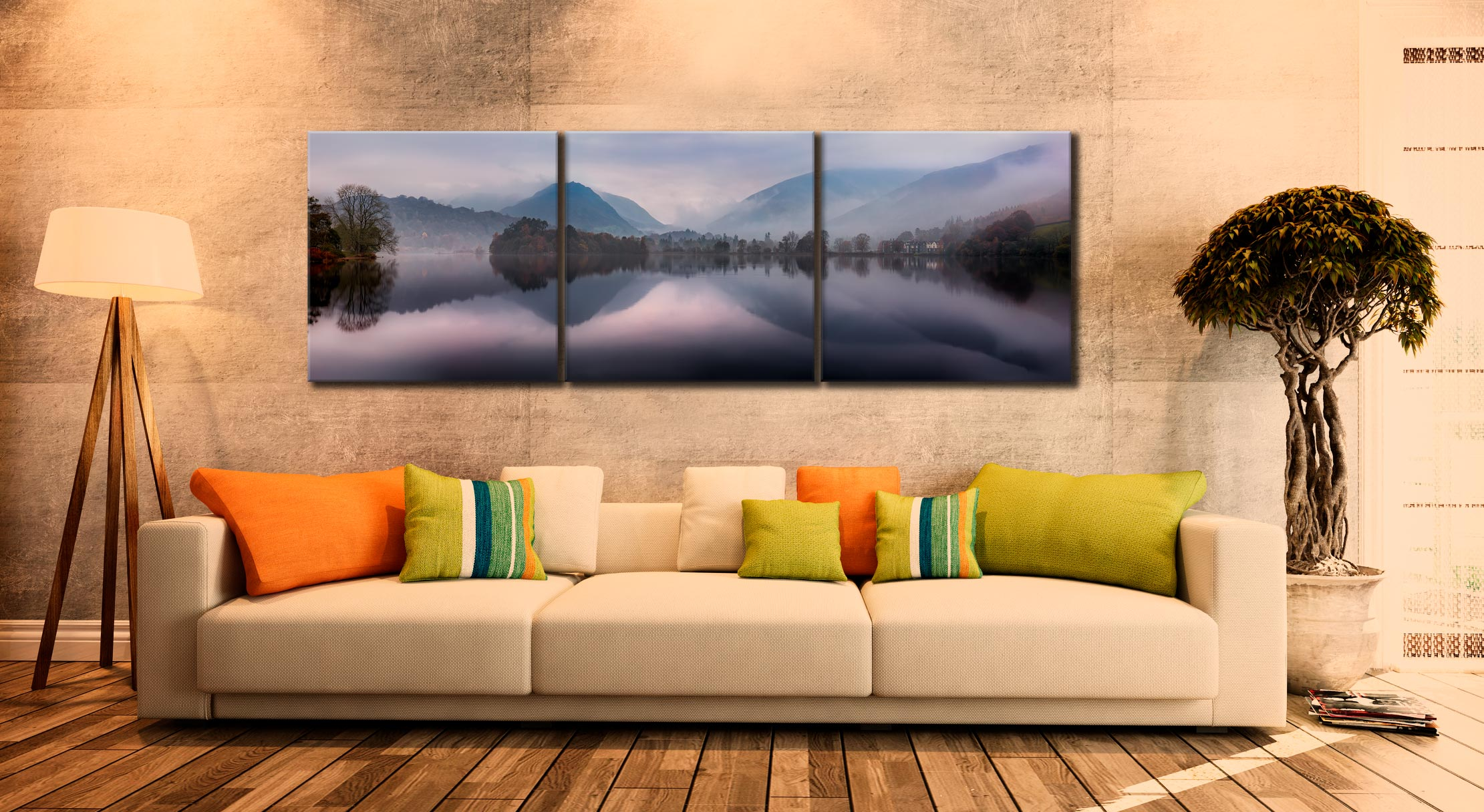 Misty Grasmere - 3 Panel Canvas on Wall
