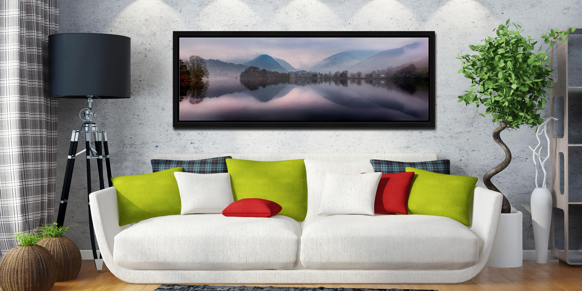 A tranquil misty autumn morning at Grasmere - Black oak floater frame with acrylic glazing on Wall