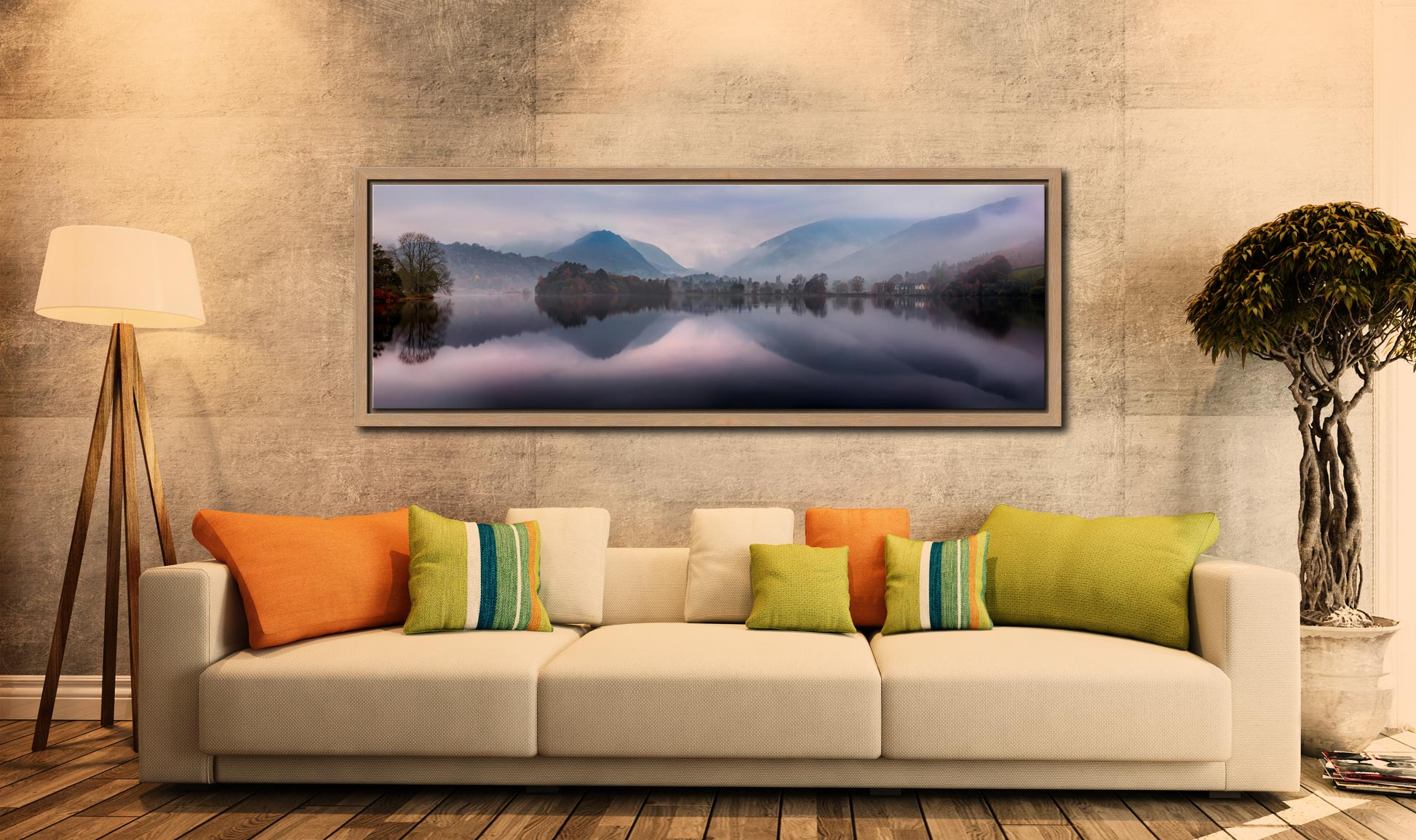 A tranquil misty autumn morning at Grasmere - Oak floater frame with acrylic glazing on Wall
