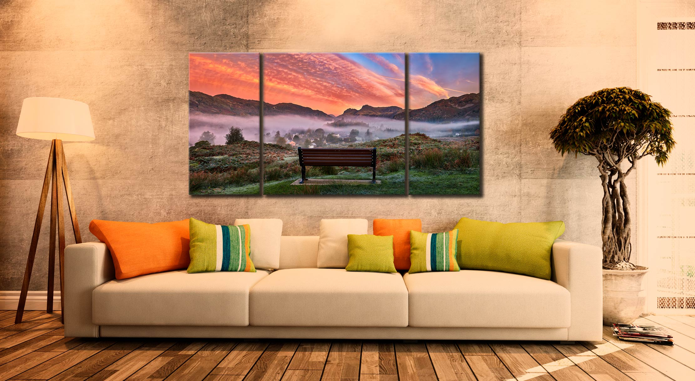 Dawn Mists Over Elterwater Village - 3 Panel Wide Centre Canvas on Wall