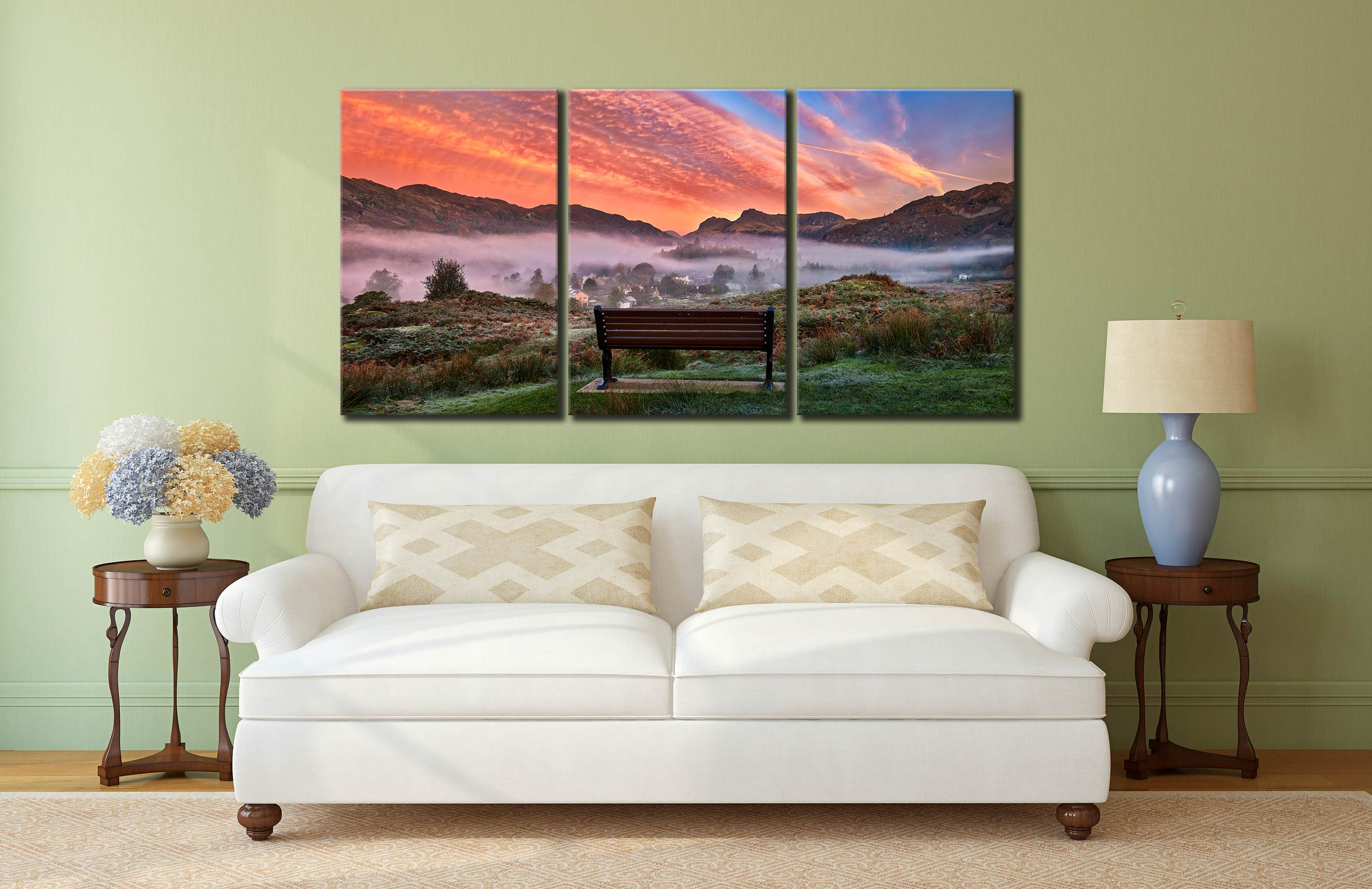 Dawn Mists Over Elterwater Village - 3 Panel Canvas on Wall