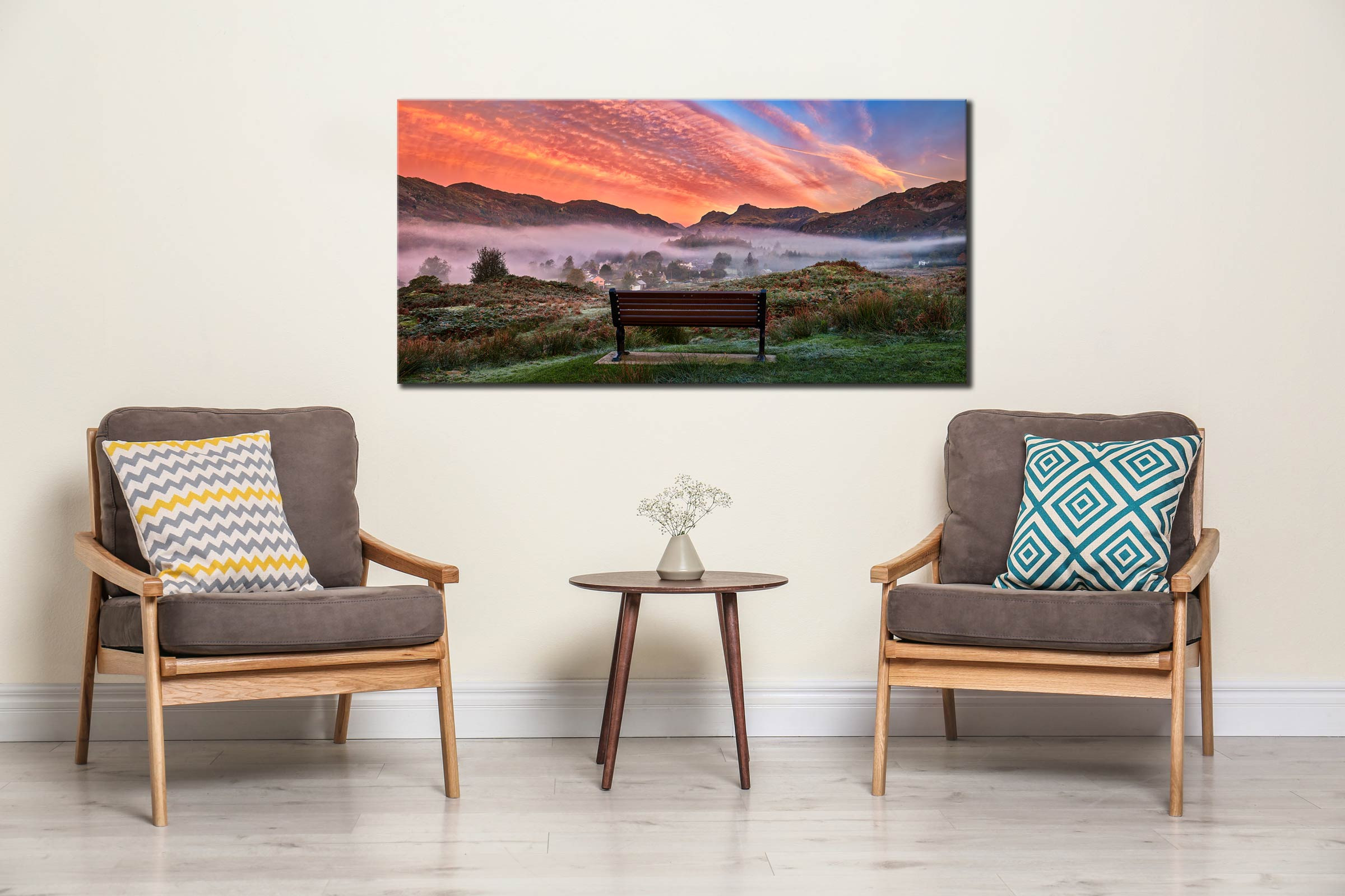 Dawn Mists Over Elterwater Village - Canvas Print on Wall