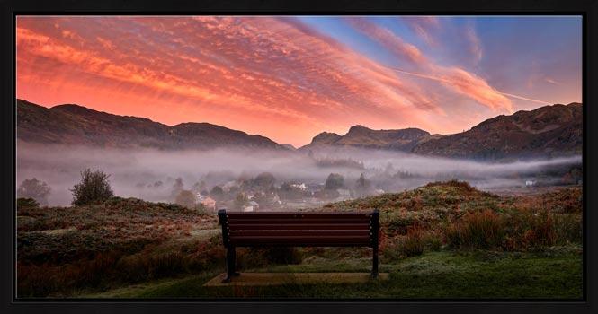 Dawn Mists Over Elterwater Village - Modern Print
