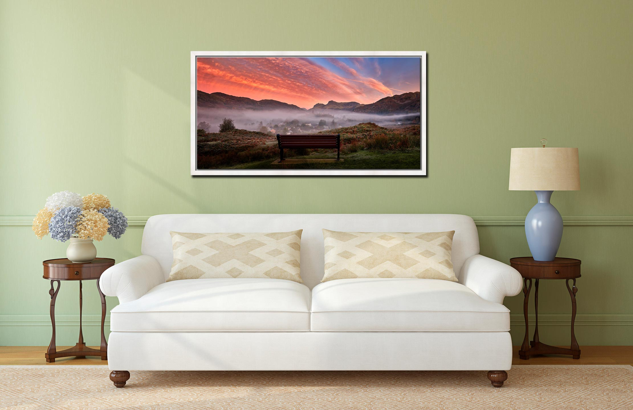 Dawn Mists Over Elterwater Village - White Maple floater frame with acrylic glazing on Wall