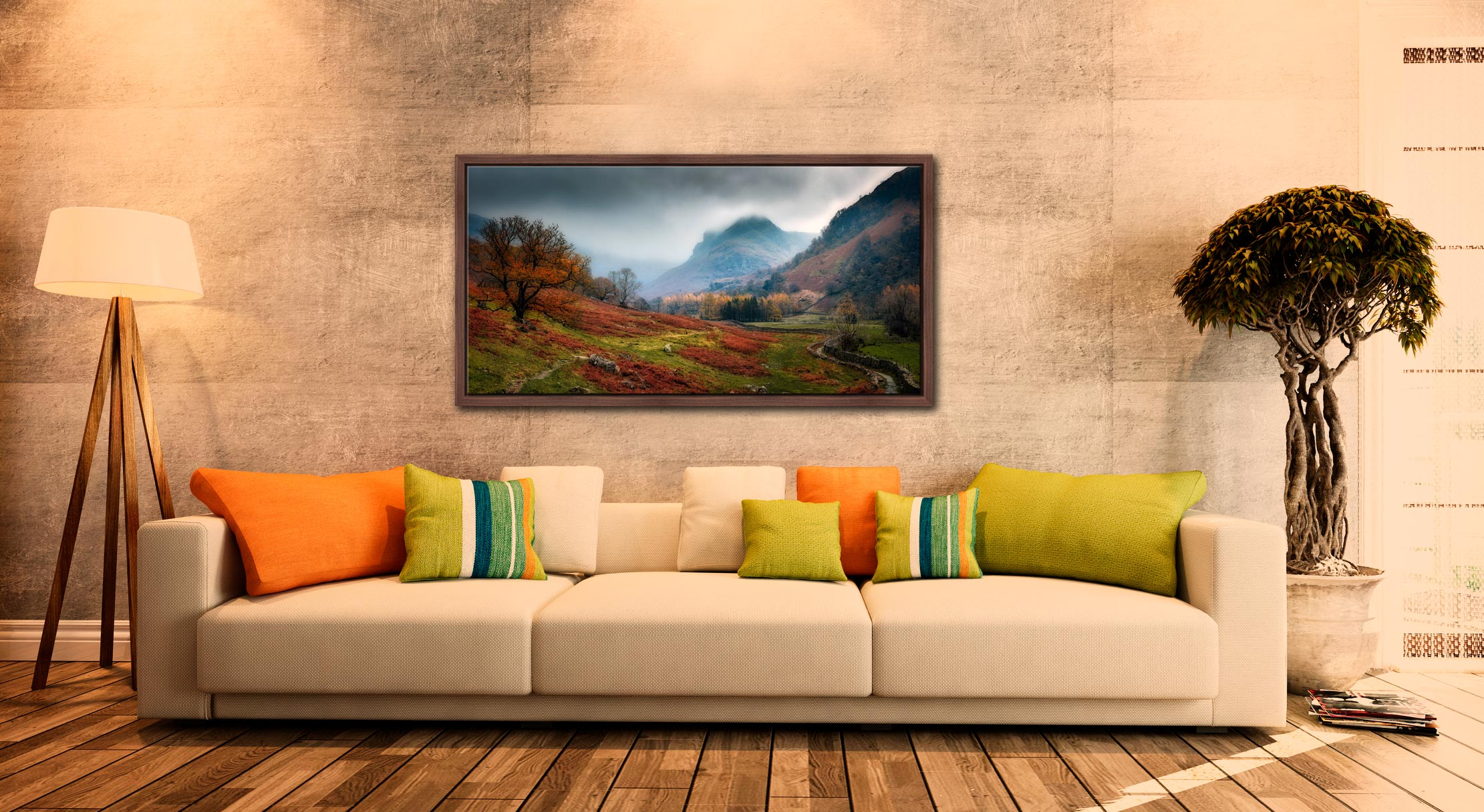 Dark Autumn at Eagle Crag - Walnut floater frame with acrylic glazing on Wall